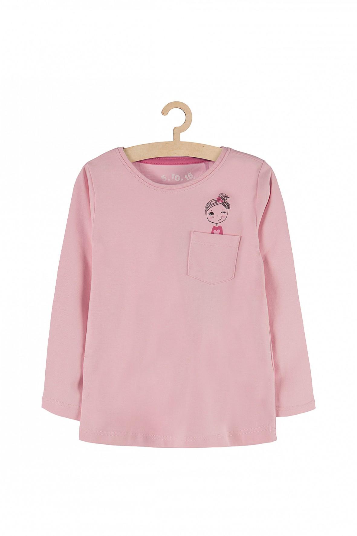 Bluzka dziewczęca różowa z kieszenią i nadrukiem z przodu