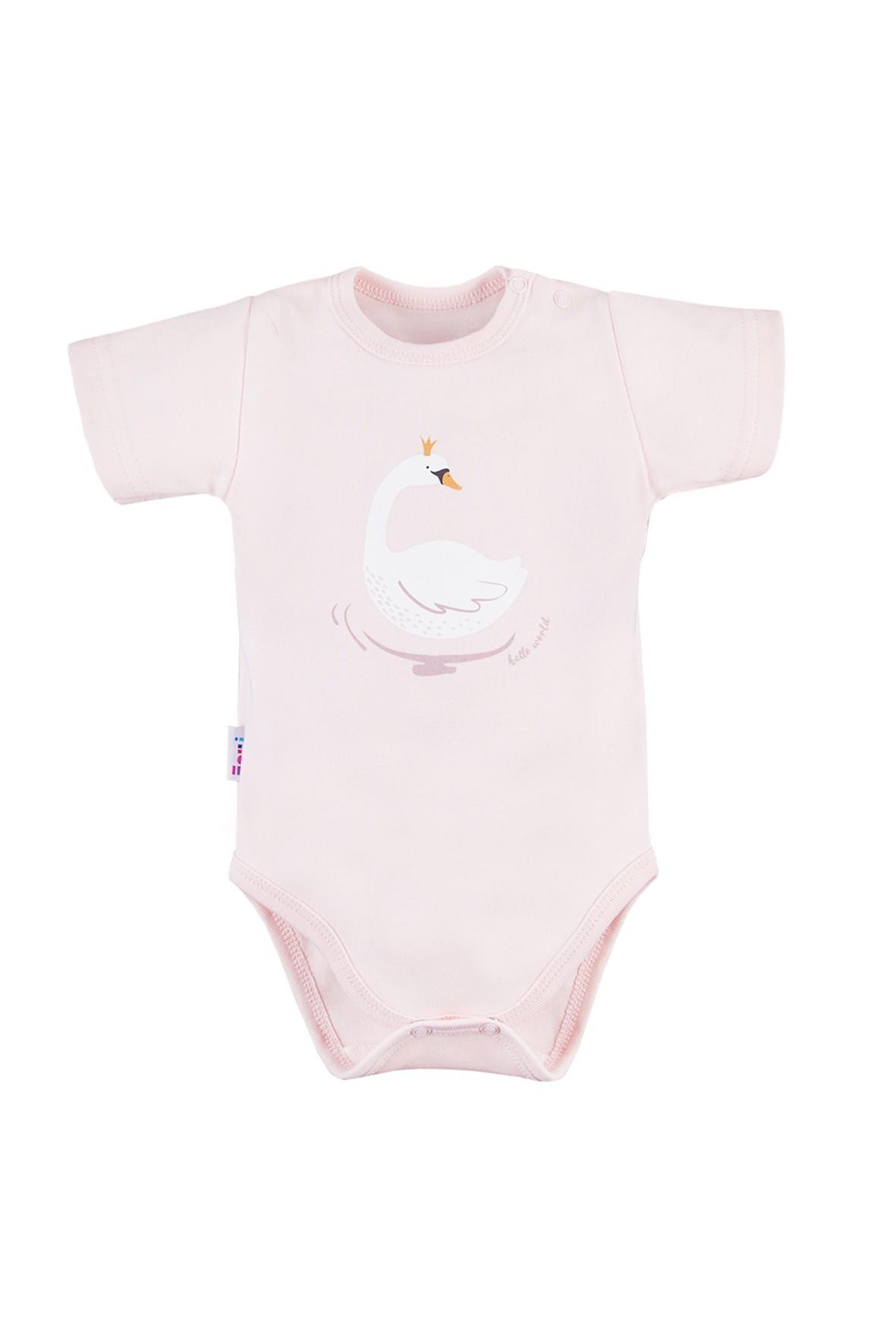 Body niemowlęce - różowe z krótkim rękawem