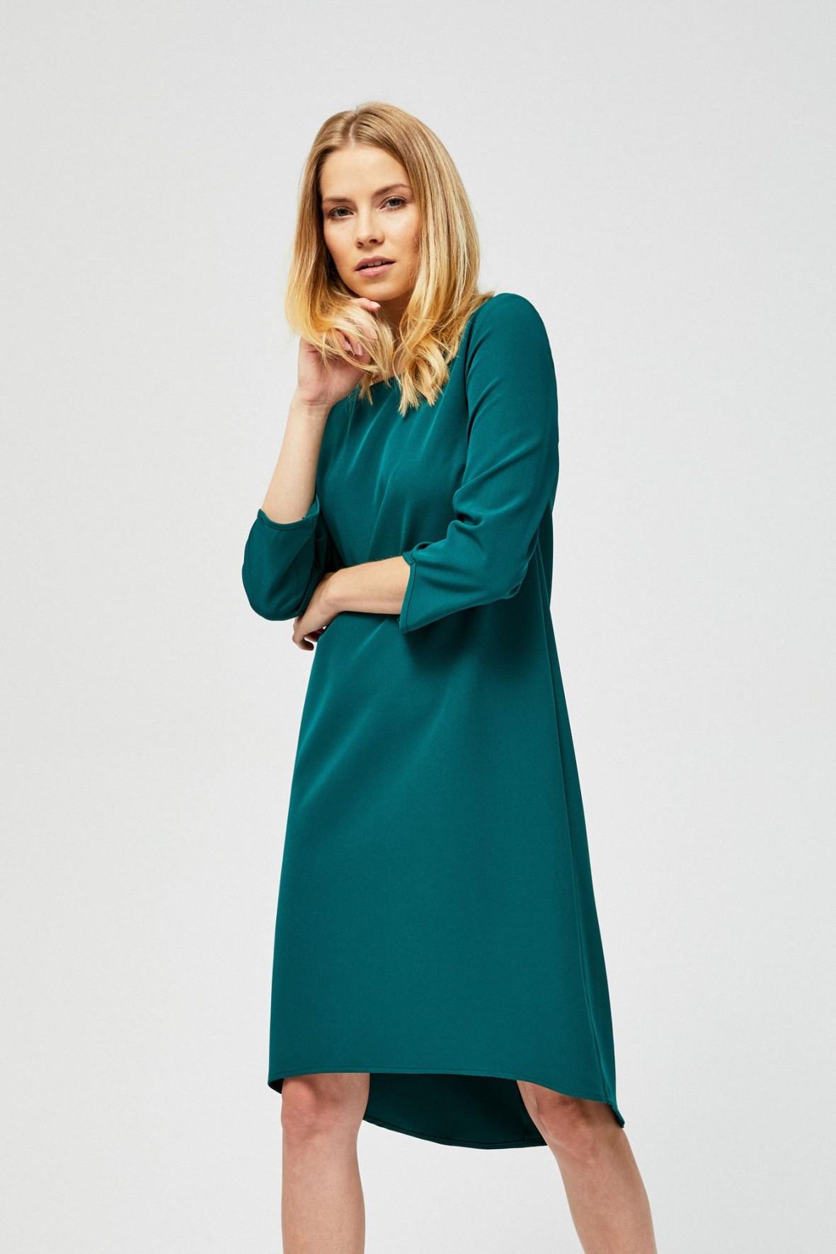 Asymetryczna sukienka damska- zielona