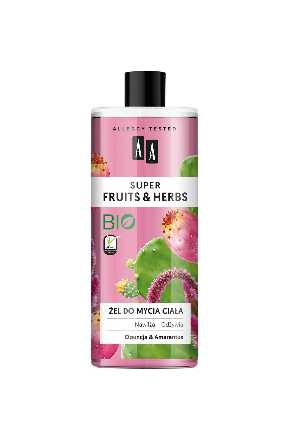 AA Super Fruits&Herbs żel do mycia ciała opuncja&amarantus 500 ml