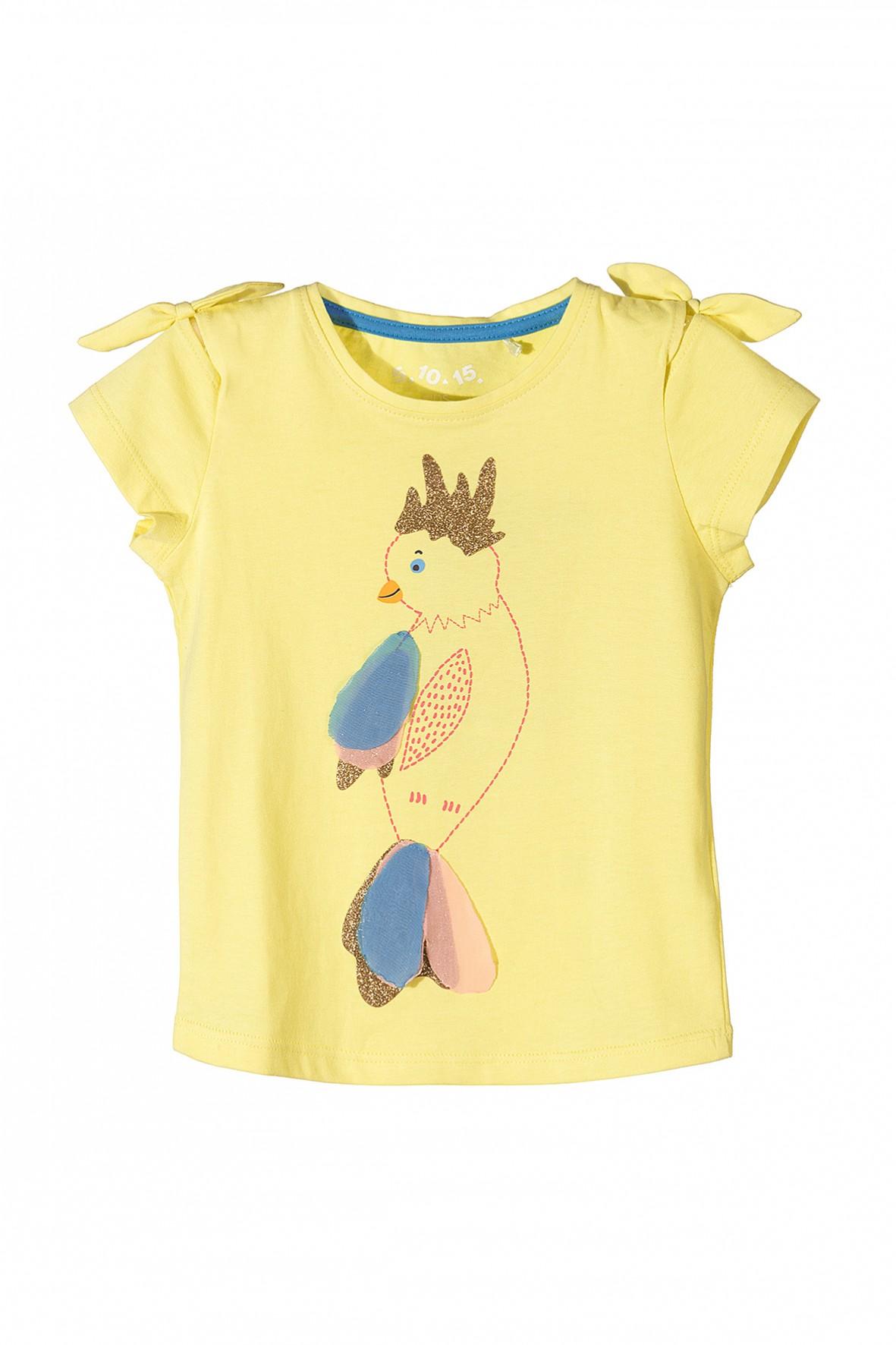 Koszulka dla dziewczynki żółta z papugą