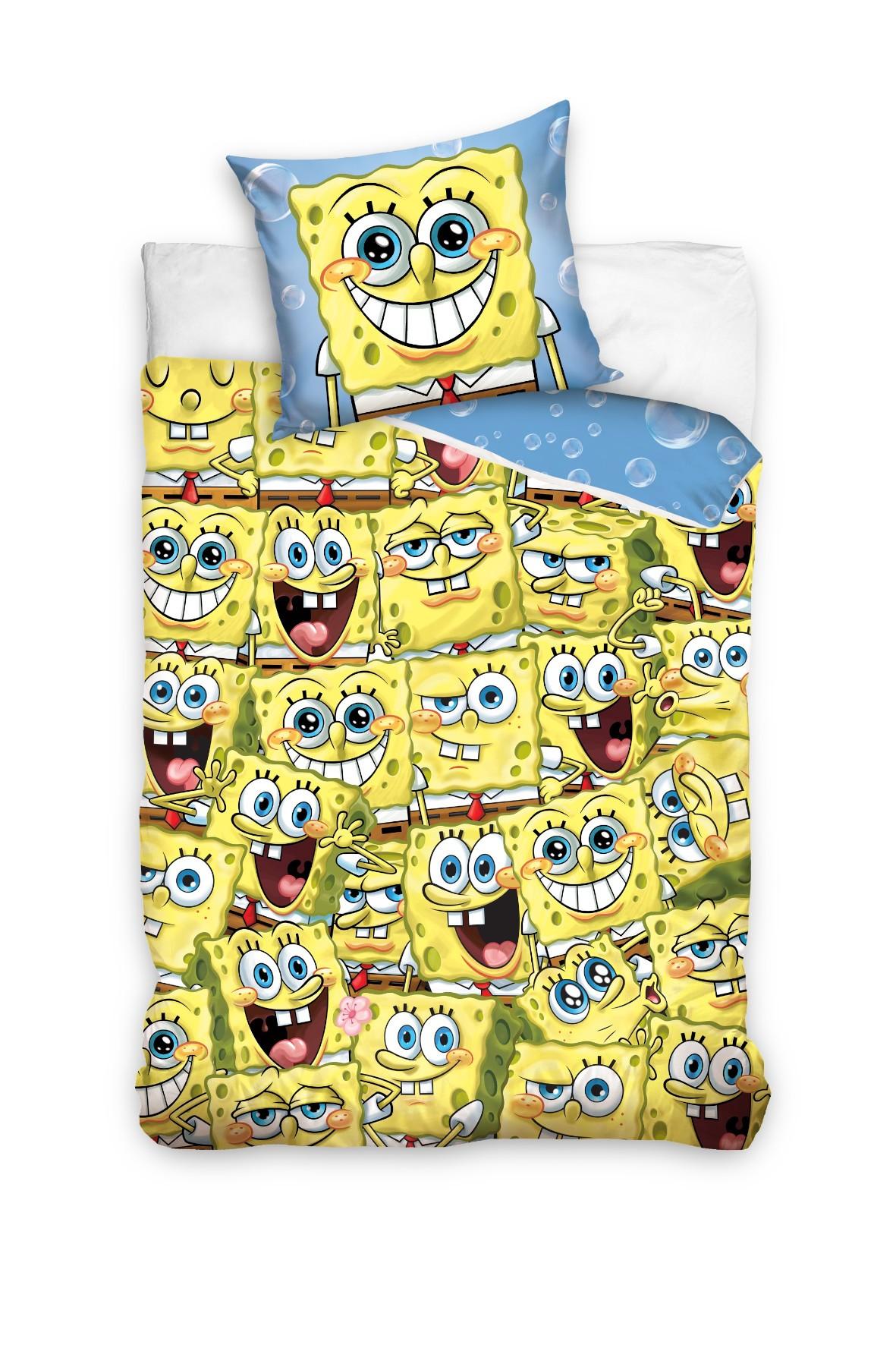 Komplet pościeli bawełnianej Sponge Bob 160x200+70x80 cm