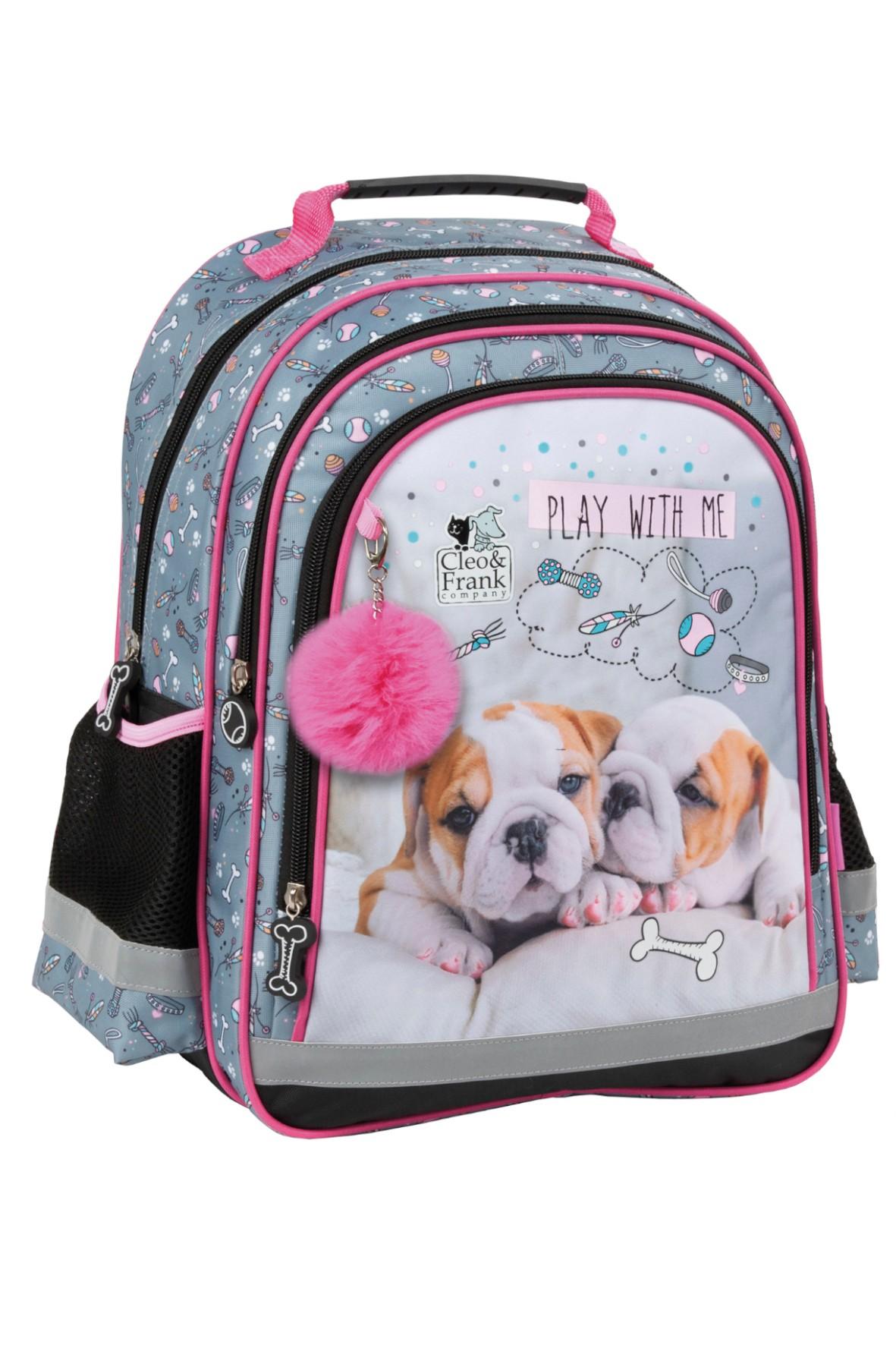 Plecak szkolny z pieskami- usztywniane plecy