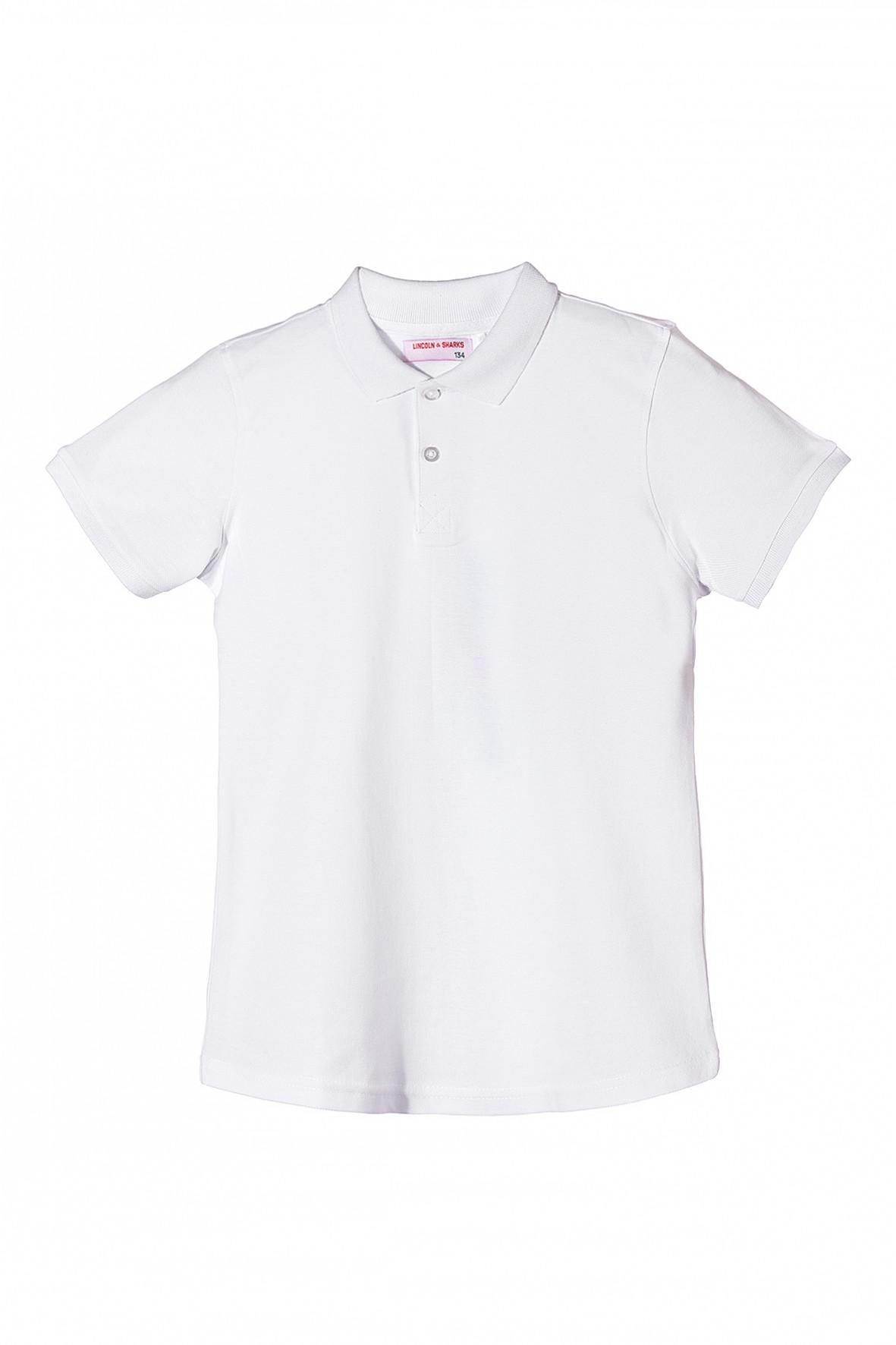 Biały t-shirt chłopięcy z kołnierzykiem