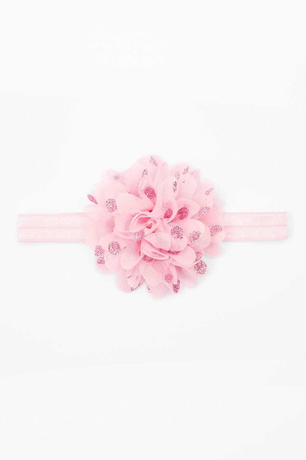 Opaska na włosy różowa z kwiatkiem