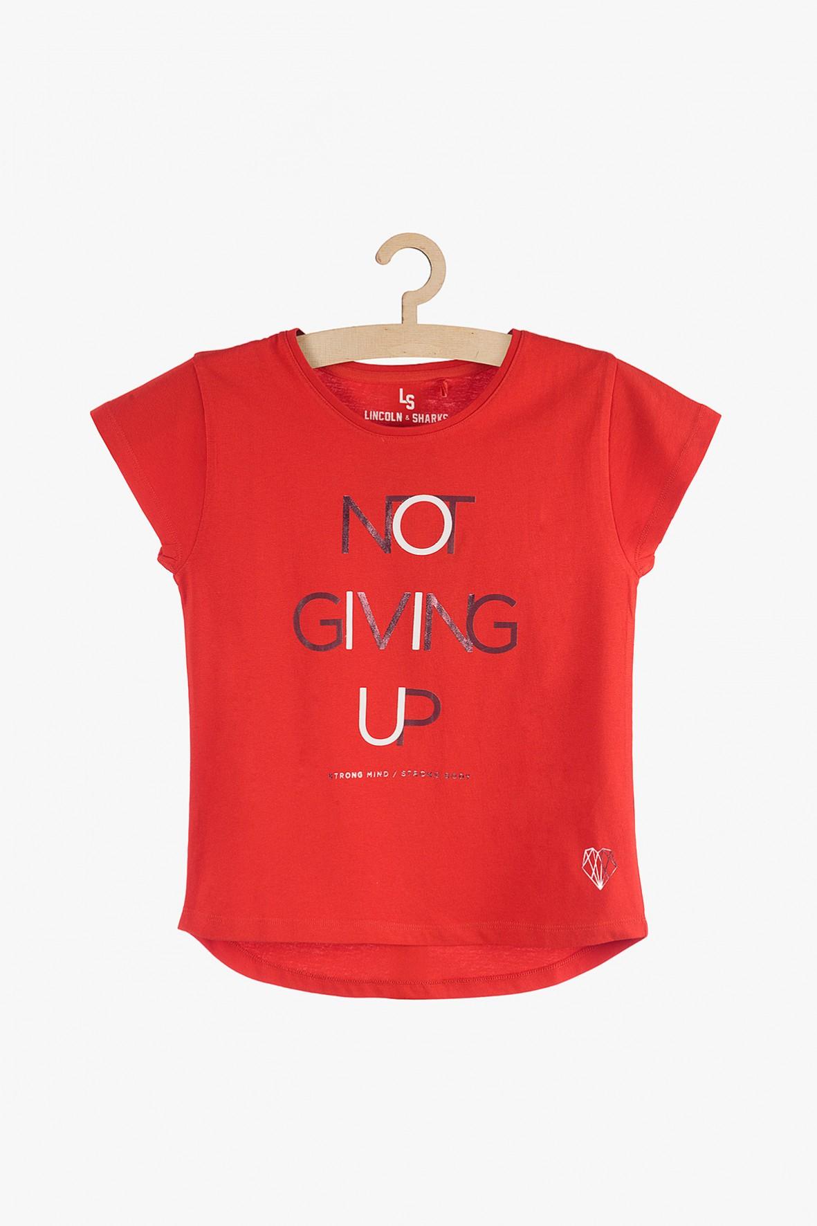T-shirt dziewczęcy czerwony z napisami