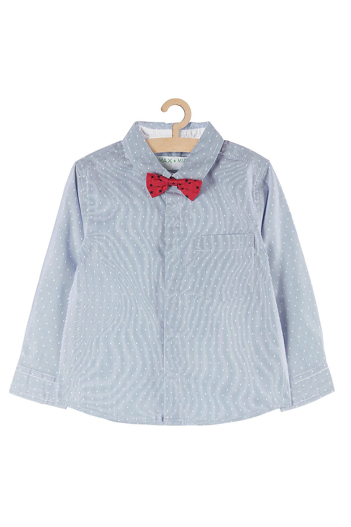 Koszula dla chłopca- niebieska z muchą