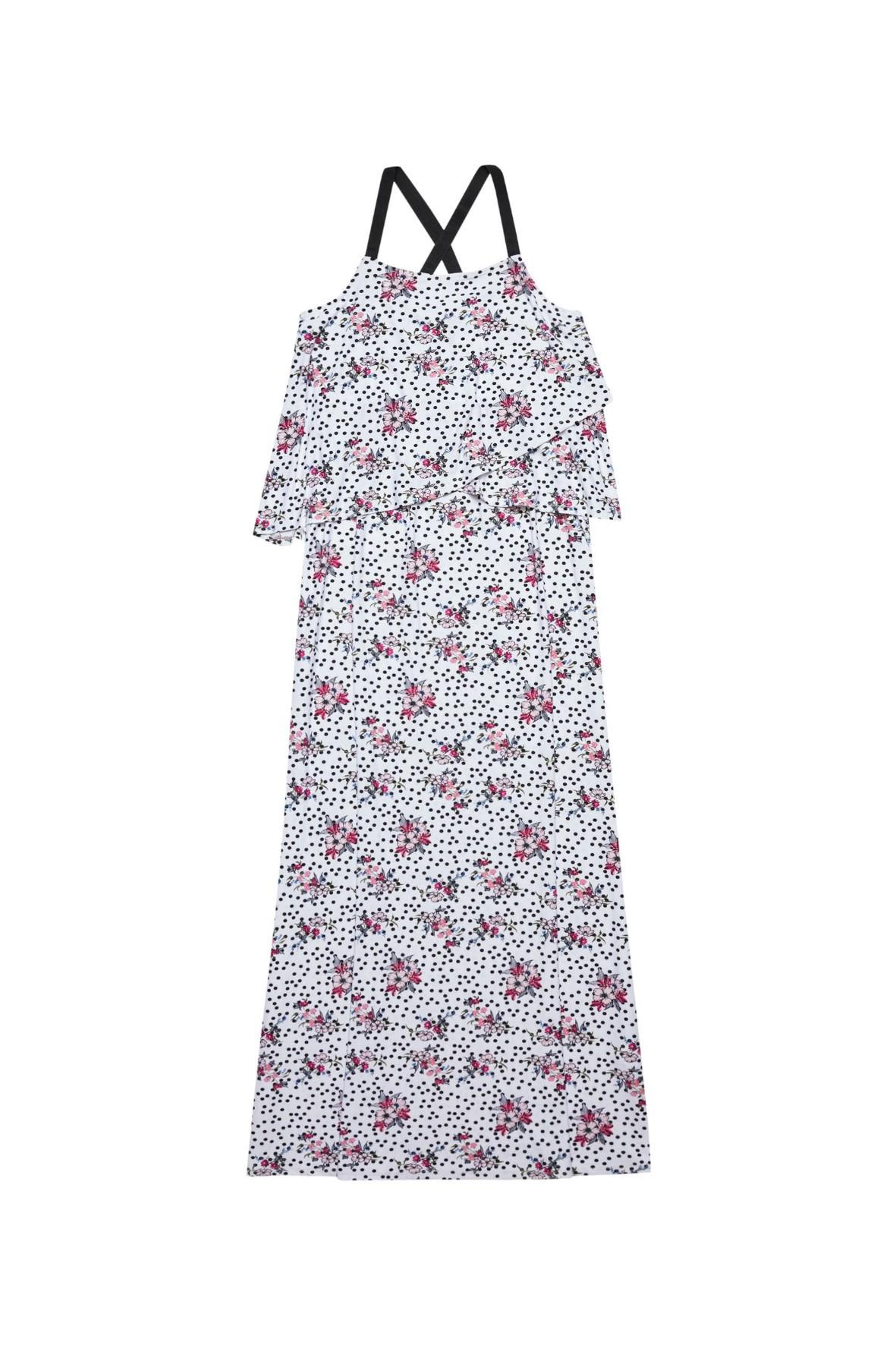 Biała sukienka typu maxi z nadrukiem kwiatów