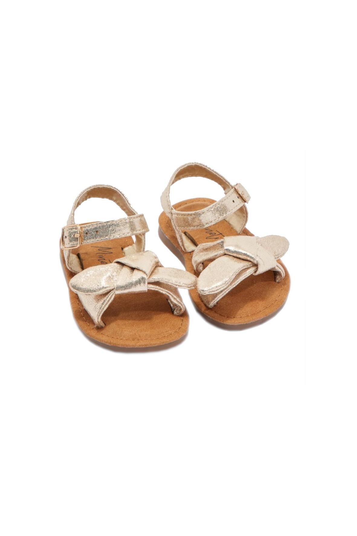 Sandały dziewczęce z kokardką- pozłacane