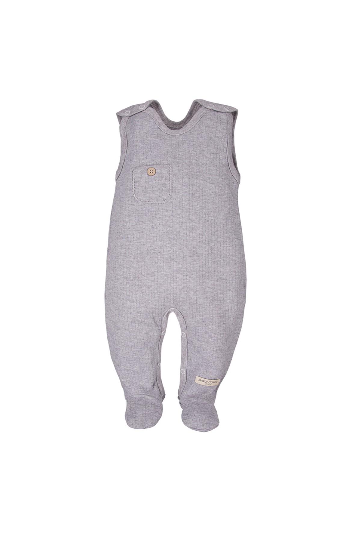 Bawełniane śpiochy niemowlęce z kieszonką - szare
