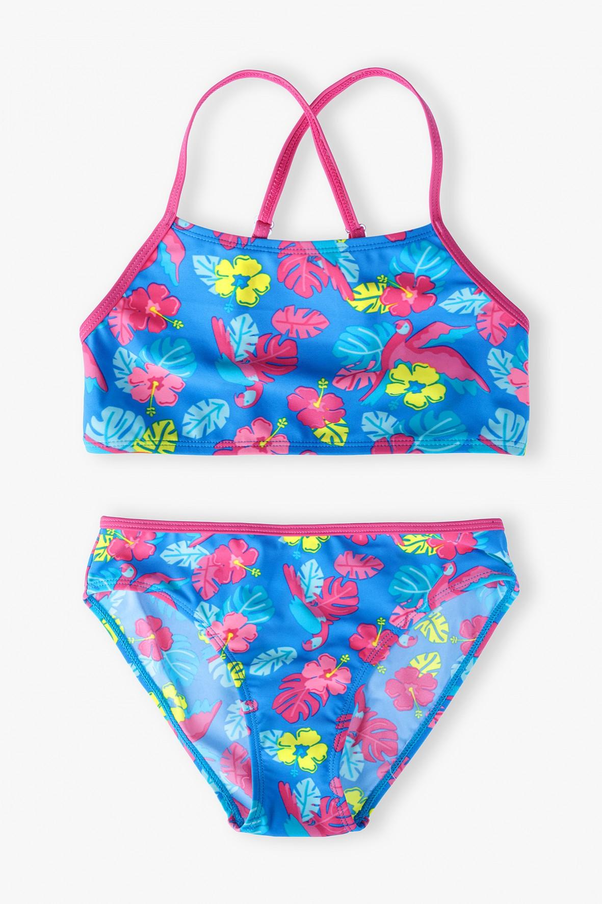 Dziewczęcy strój kąpielowy w kolorowe kwiatki