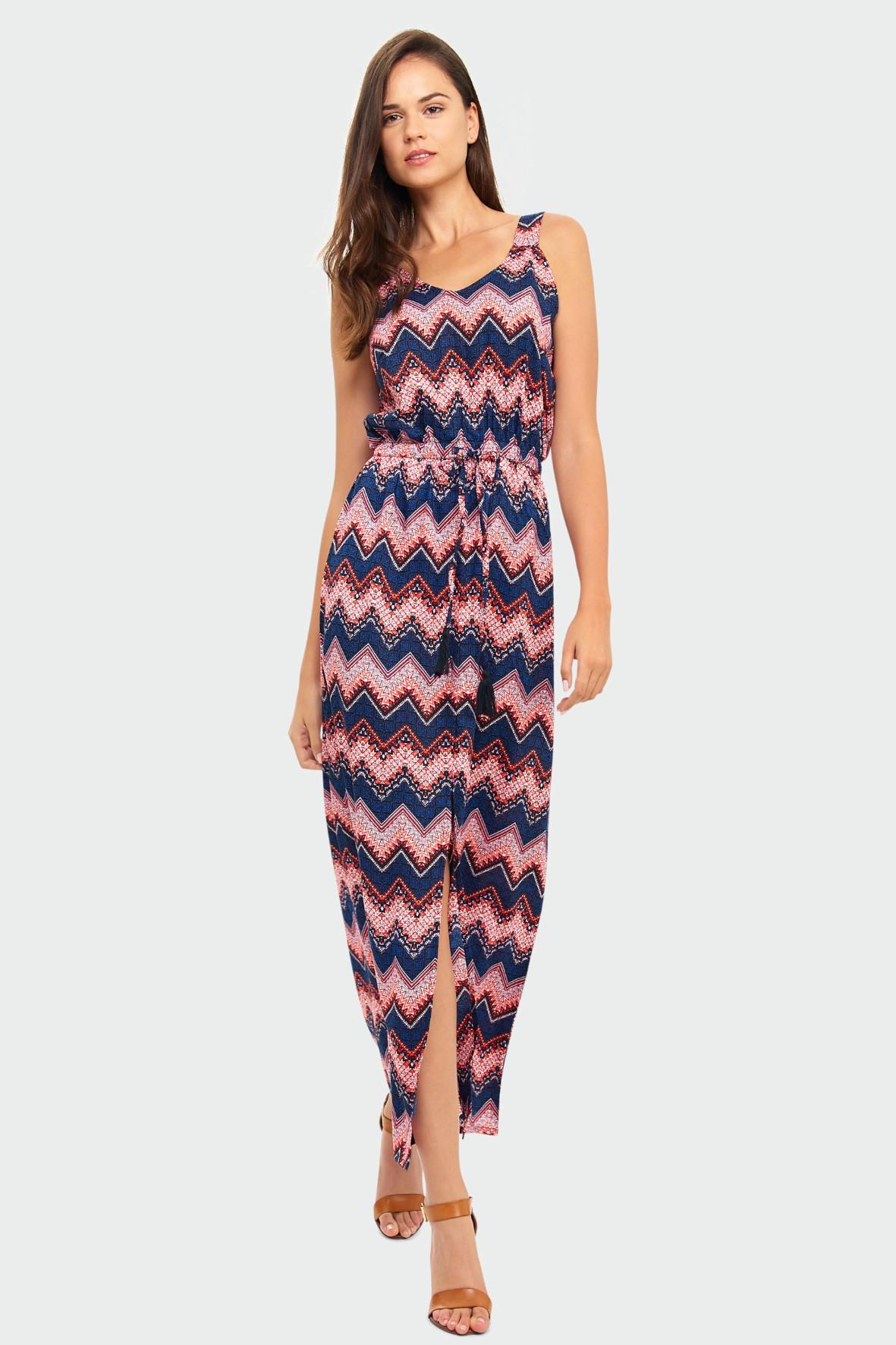 Kolorowa długa wiskozowa sukienka w zygzaki