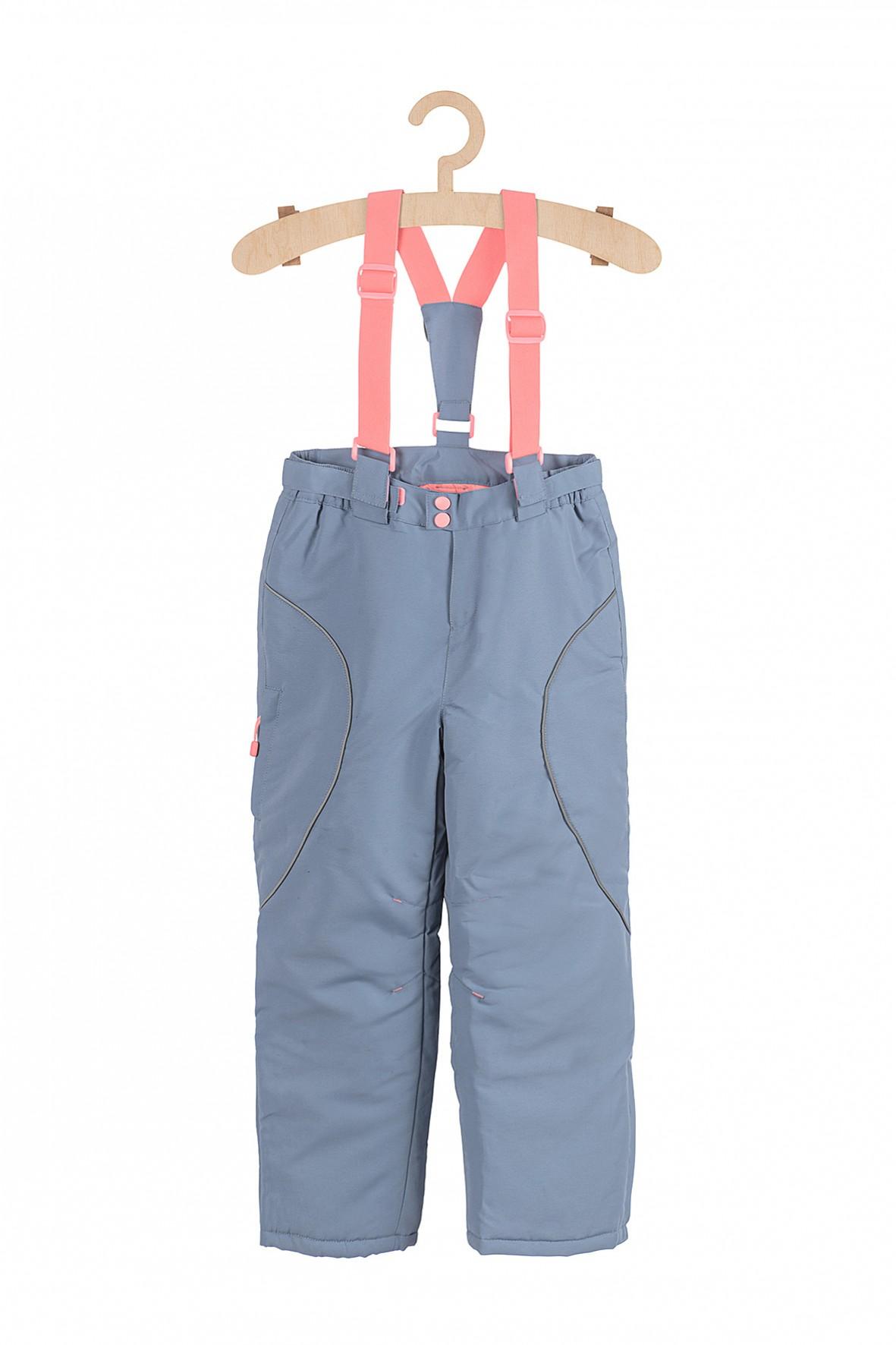 Spodnie narciarskie dziewczęce z elementami odblaskowymi