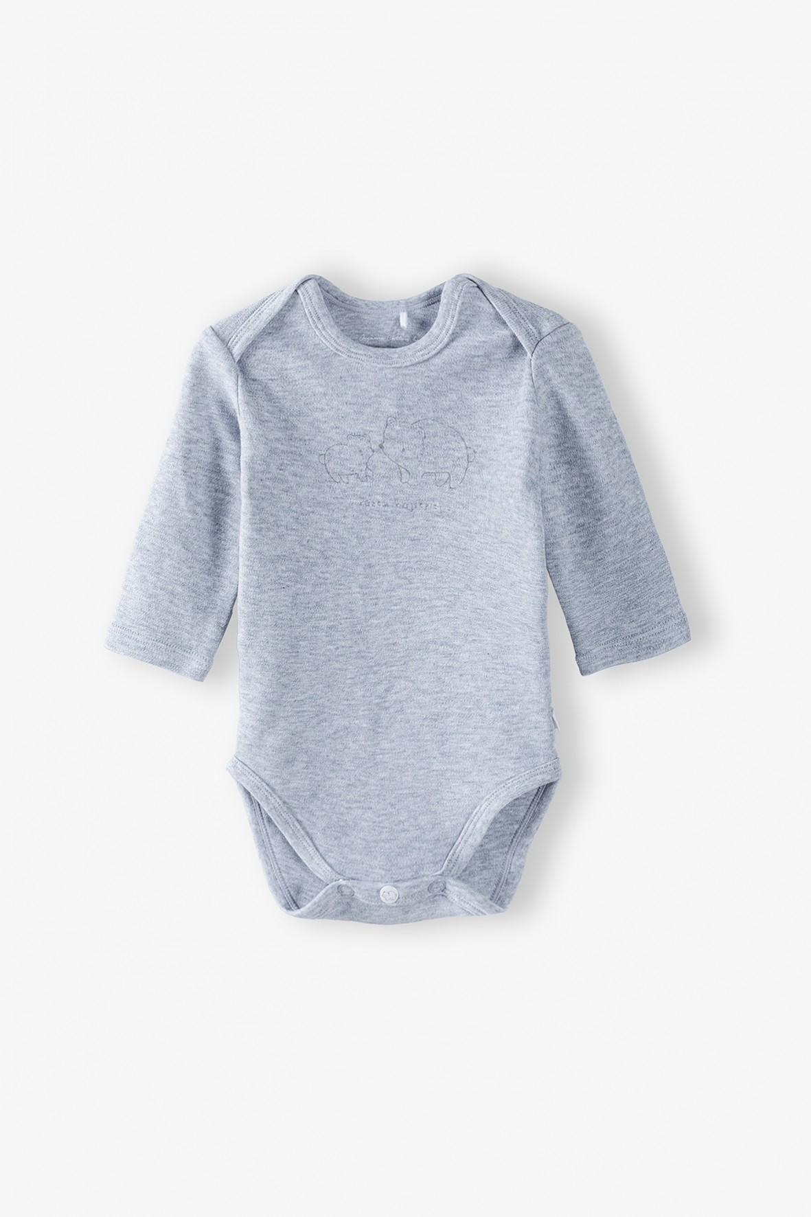 Body z bawełny organicznej - szare z długim rękawem