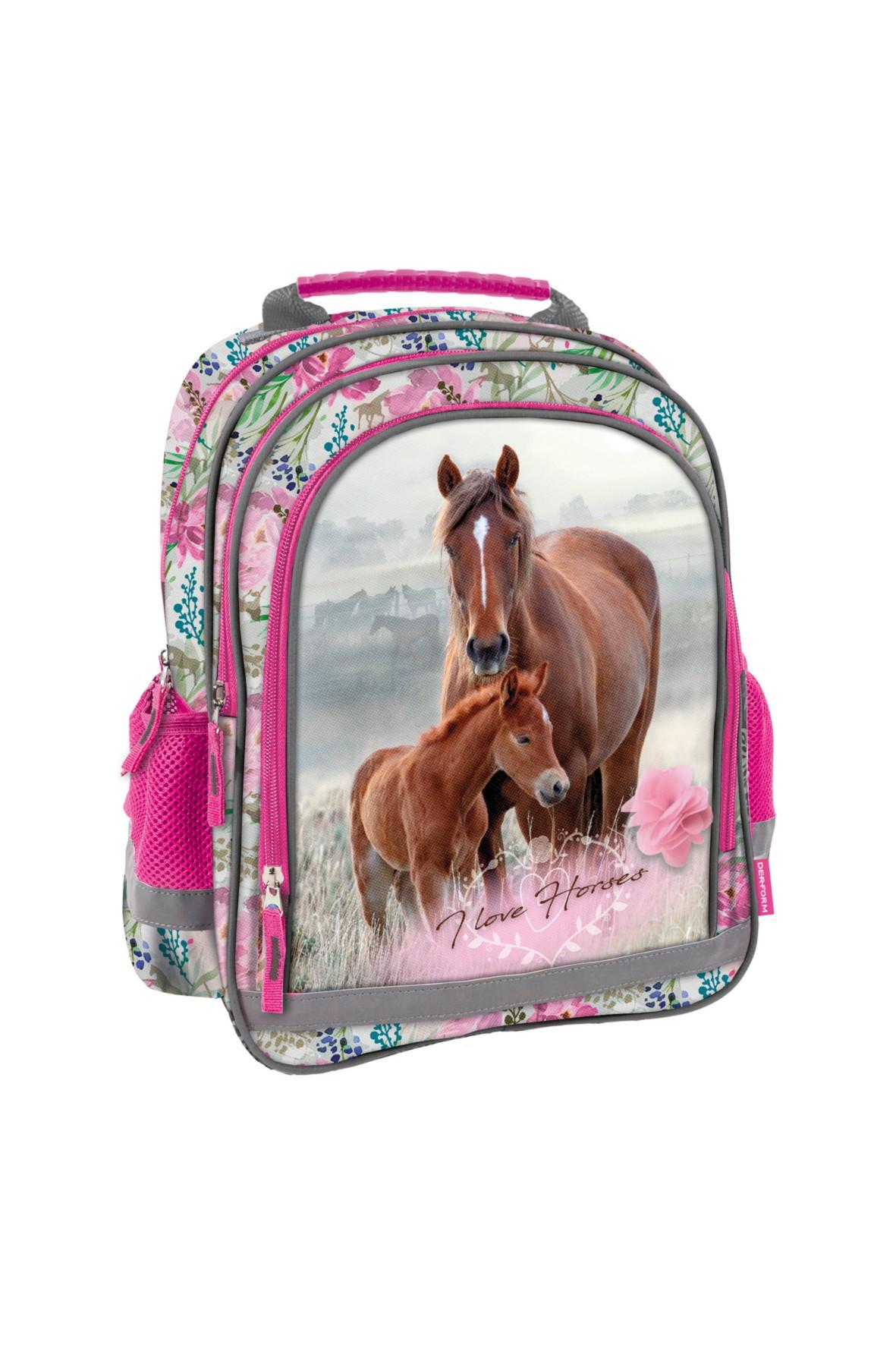 Plecak dziewczęcy szkolny z odblaskami Konie