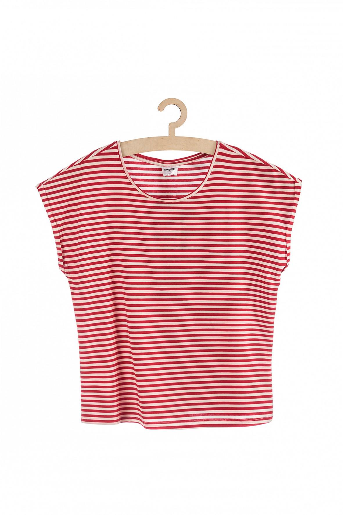 T-shirt damski w czerwono-biale paski