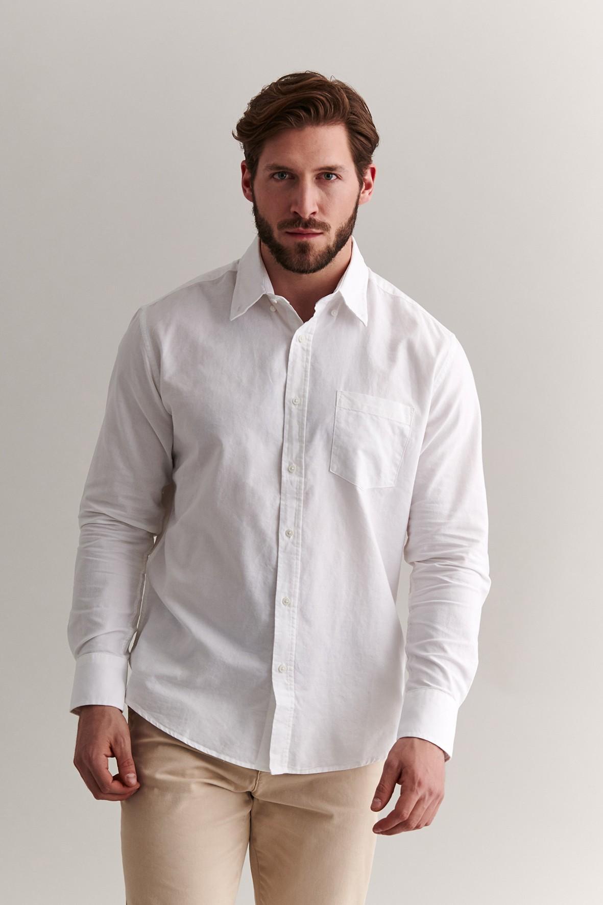 Bawełniana koszula męska - biała