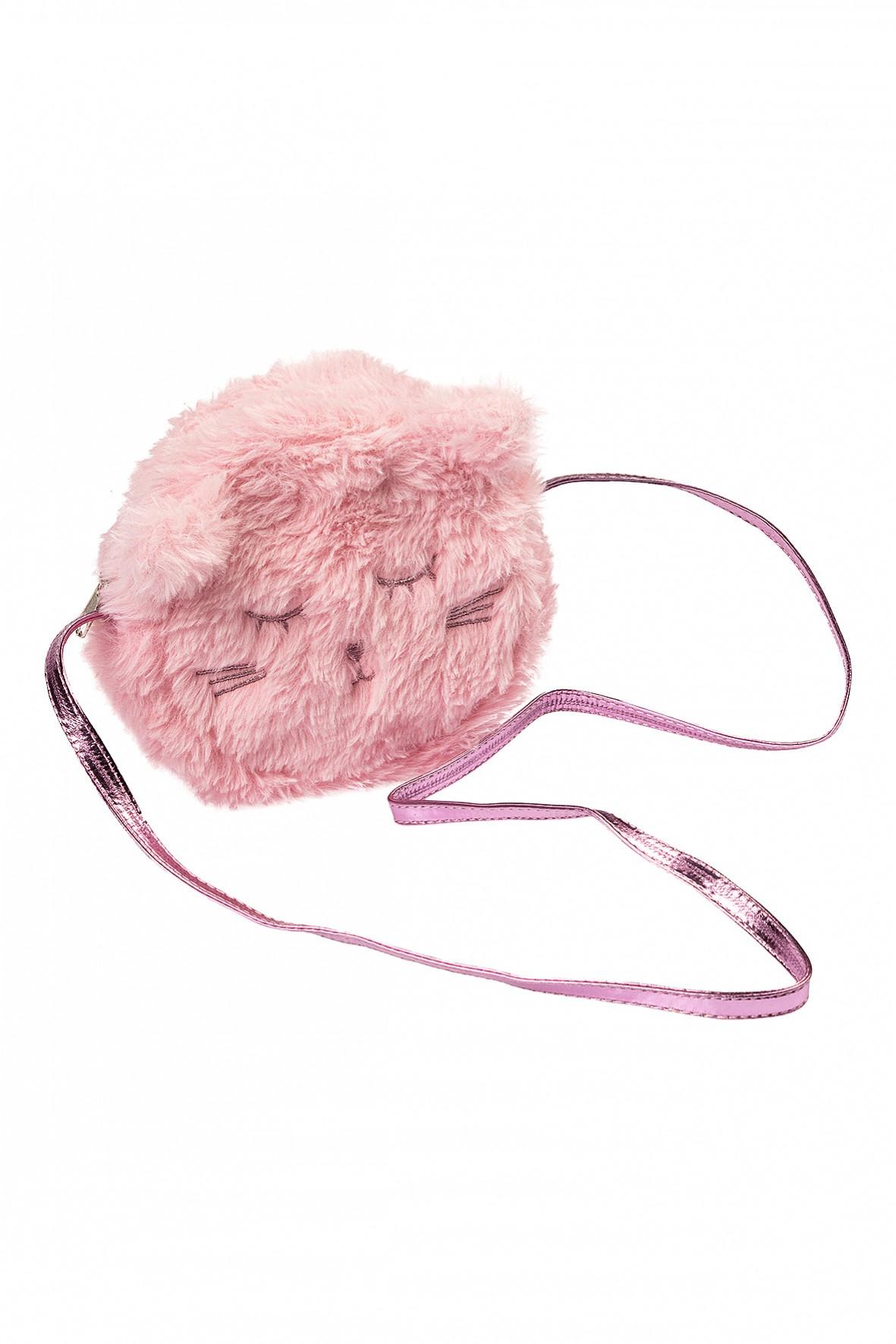 Torebka dziewczęca na ramię- różowy włochaty kot