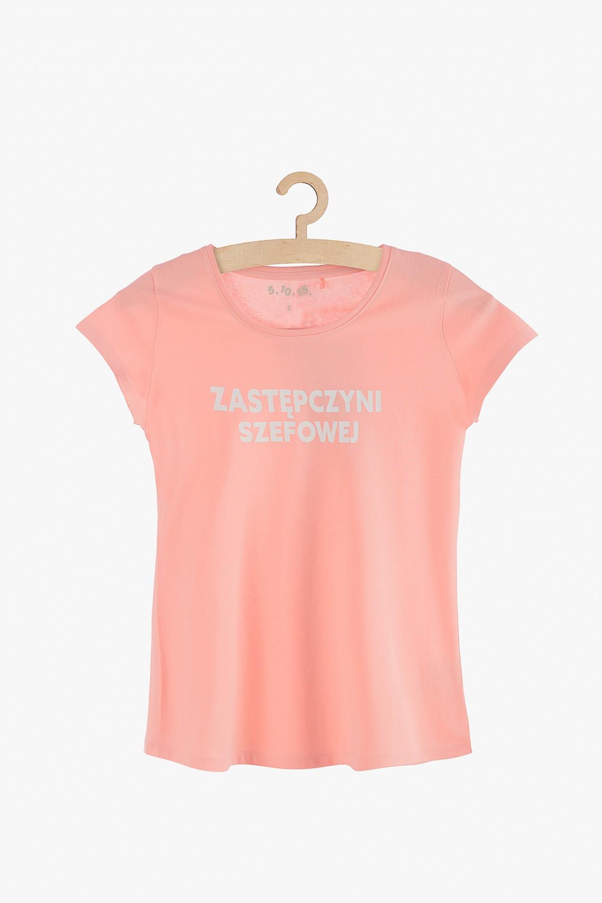 """T-shirt damski różowy z polskim napisem """"Zastępczyni Szefowej"""""""