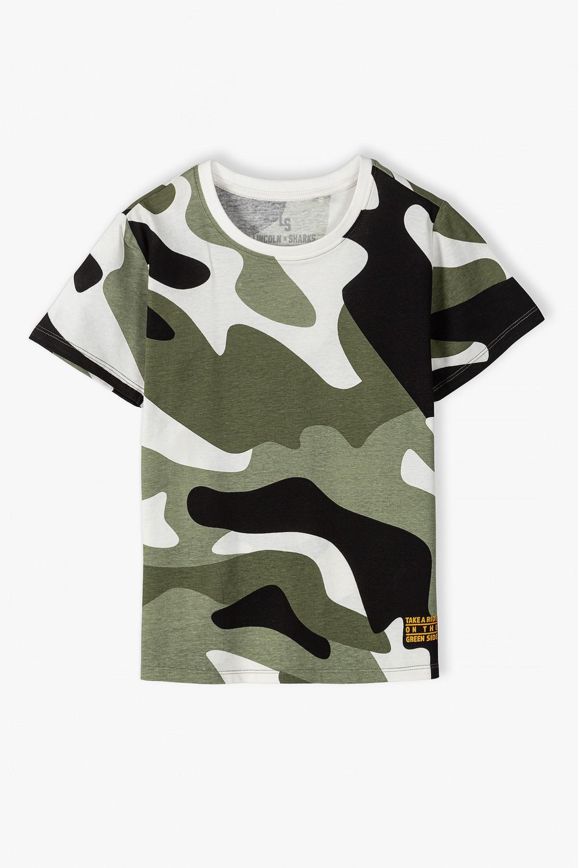 Bawełniana bluzka z krótkim rękawem- moro