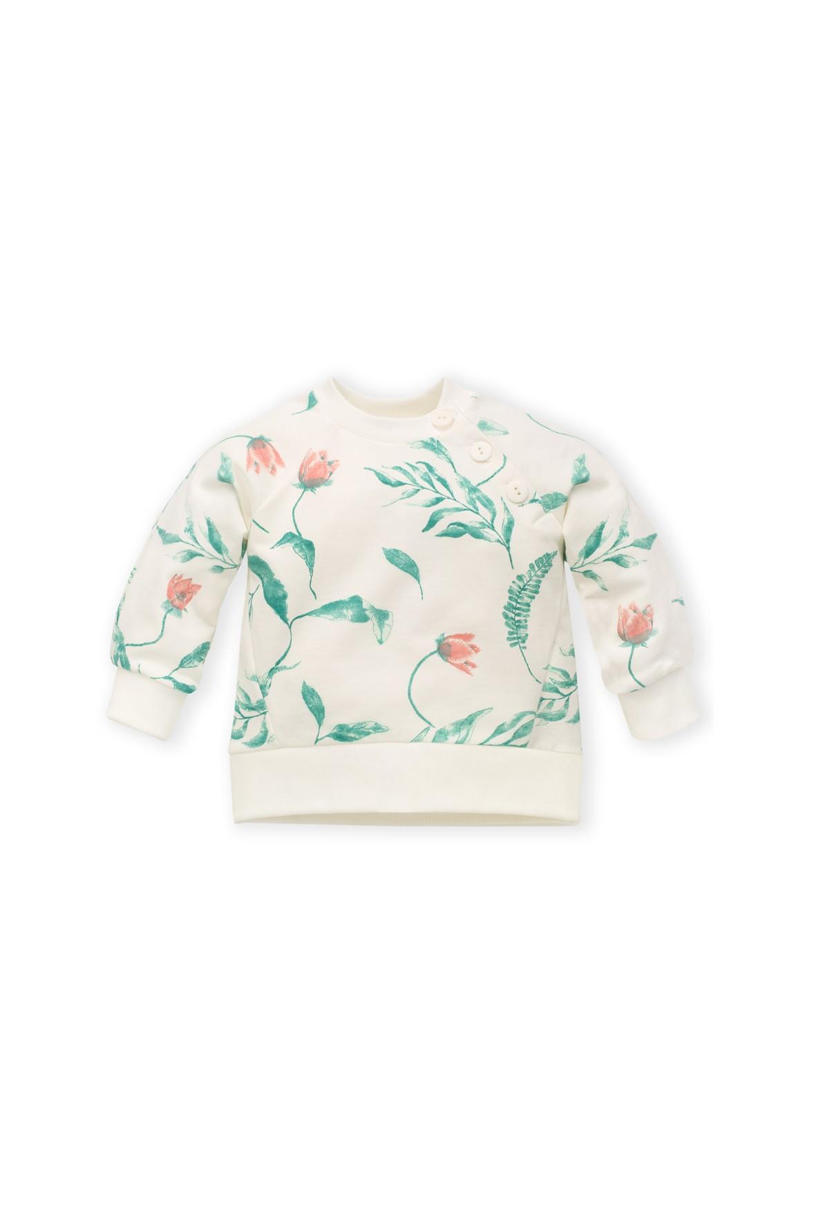 Bluza dresowa dla niemowlaka ecru w kwiaty