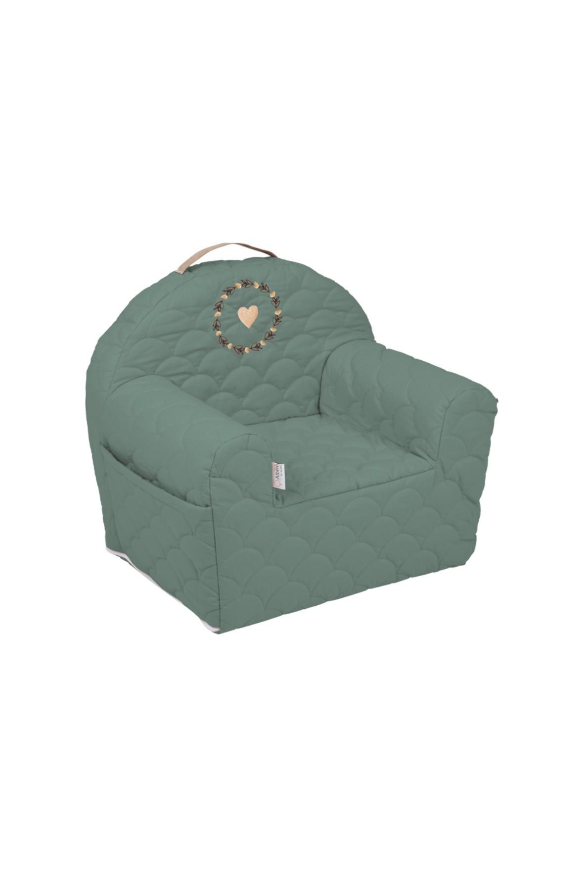 Bawełniany fotelik piankowy Savanna w kolorze zielonym - 50x35x45 cm