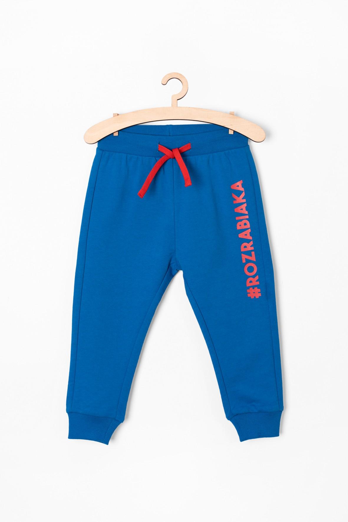 Spodnie dresowe z napisem - niebieskie #rozrabiaka