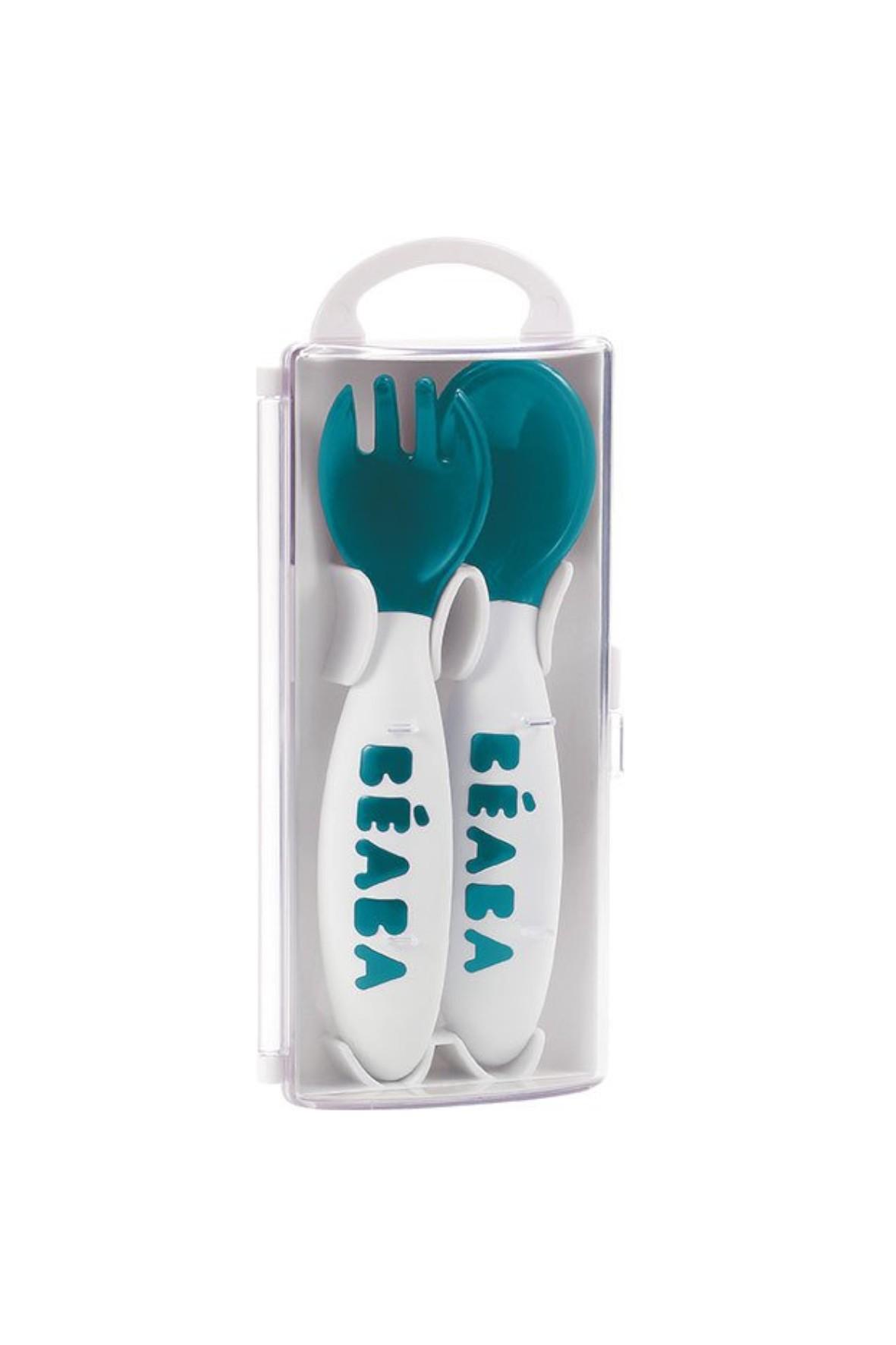 Sztućce plastikowe w etui Beaba- niebieskie 8msc+