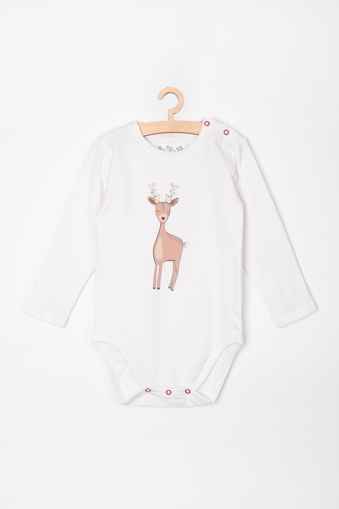 Body niemowlęce białe z reniferem