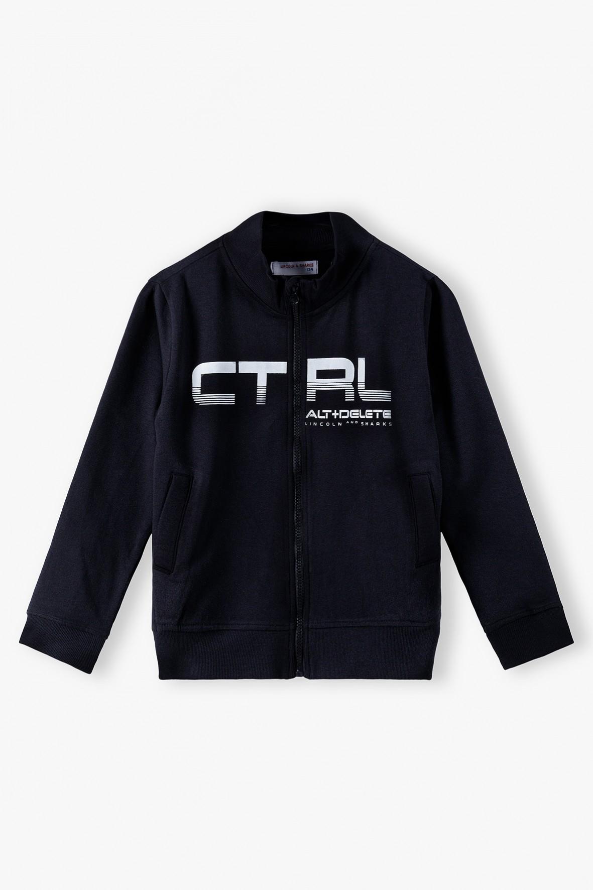 Czarna bluza dresowa chłopięca rozpinana CTRL ALT + DELETE