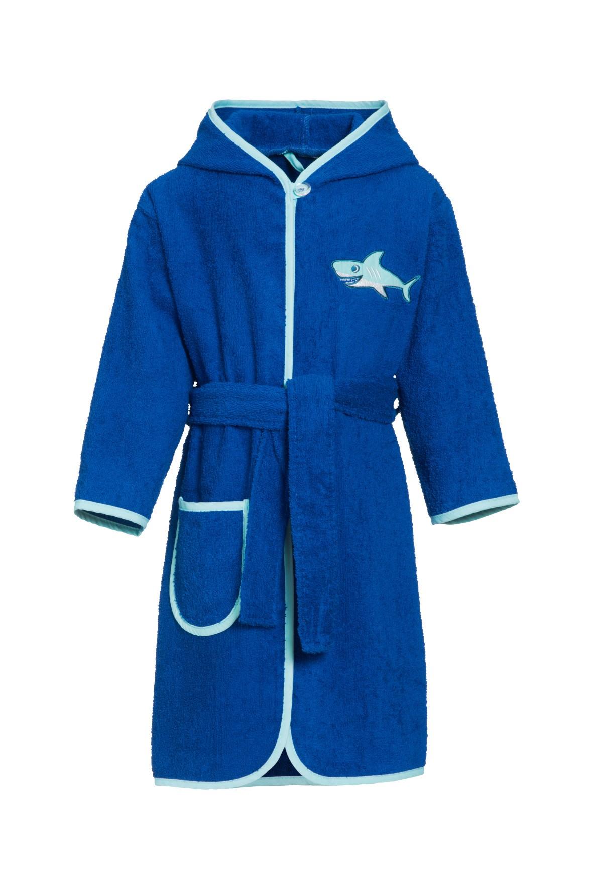 Szlafrok frotte dla chłopca - niebieski z rekinem