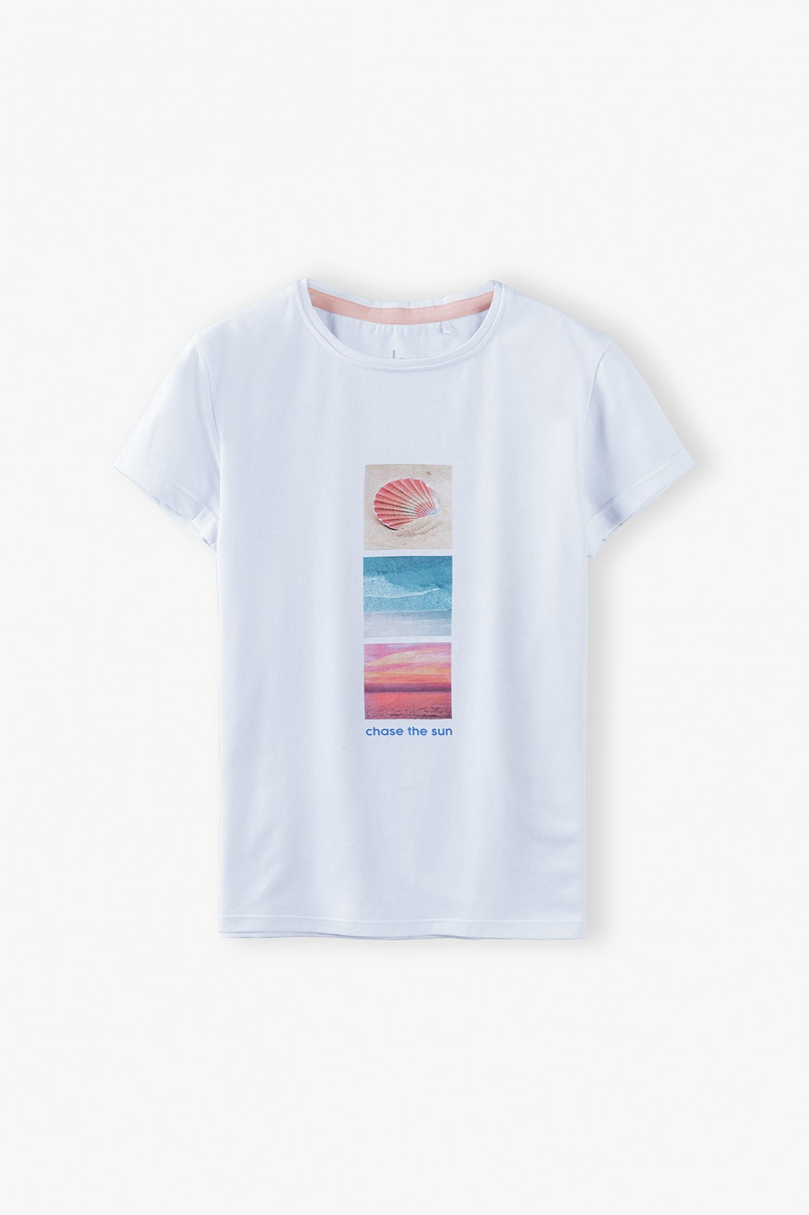T- shirt dziewczęcy w wakacyjnymi nadrukami- Chase the sun