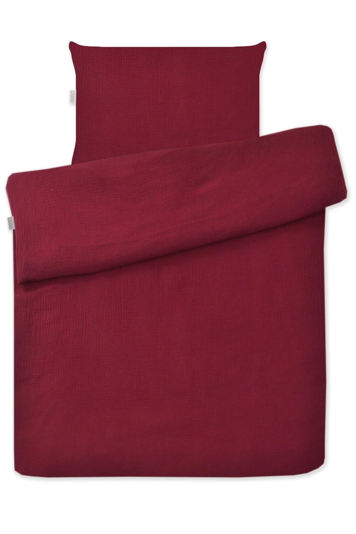 Bordowa pościel 2-elementowa do łóżeczka, 135x100cm + 60x40cm