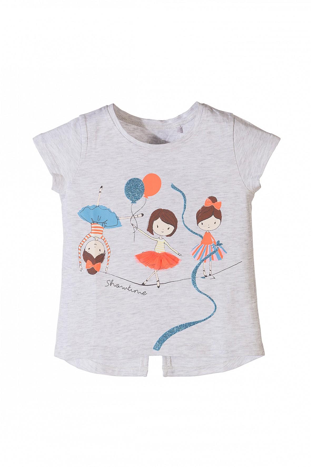 T-shirt dziewczęcy z kolorowymi nadrukami i rozcięciem z tyłu