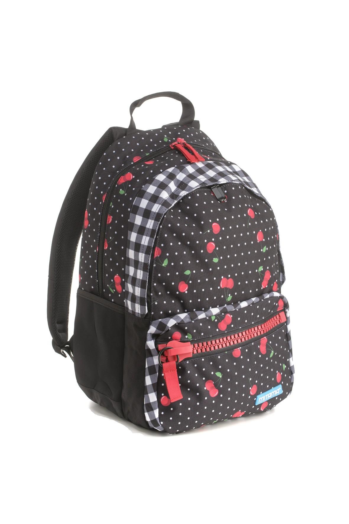 Plecak dziewczęcy szkolny w wisienki - czarny