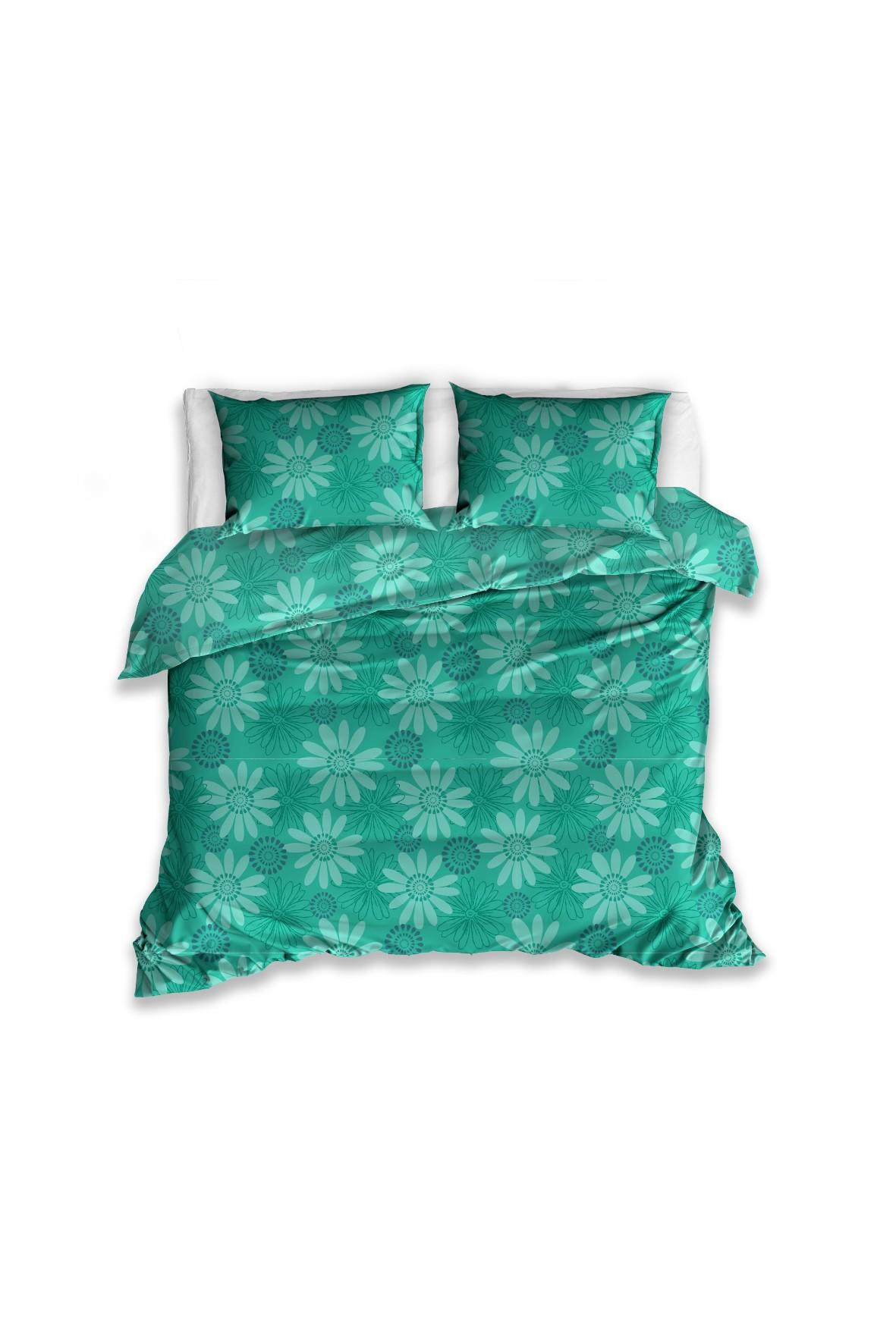 Komplet pościeli Renforce- zielona w kwiaty 160x200cm +2szt 70x80cm