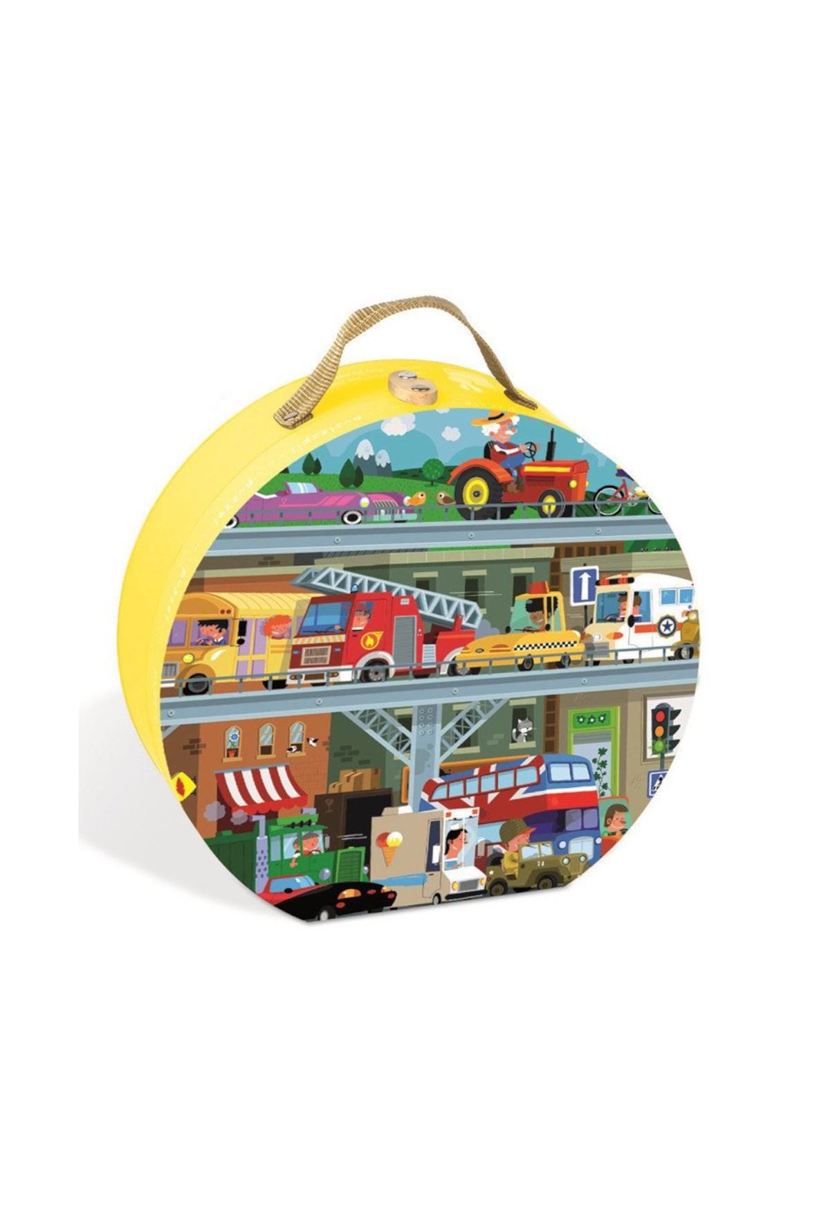 Puzzle w walizce Pojazdy 100 elementów Janod