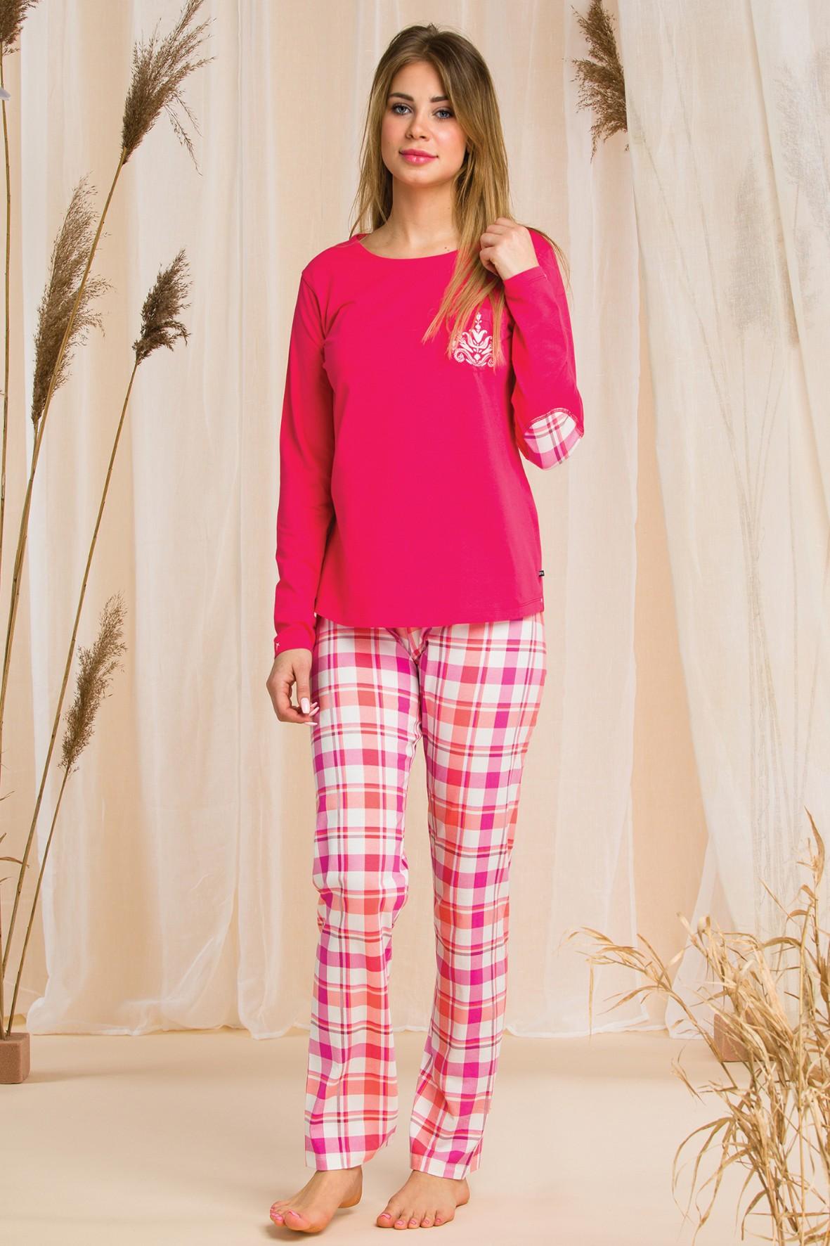 Piżama damska - różowa w kratę