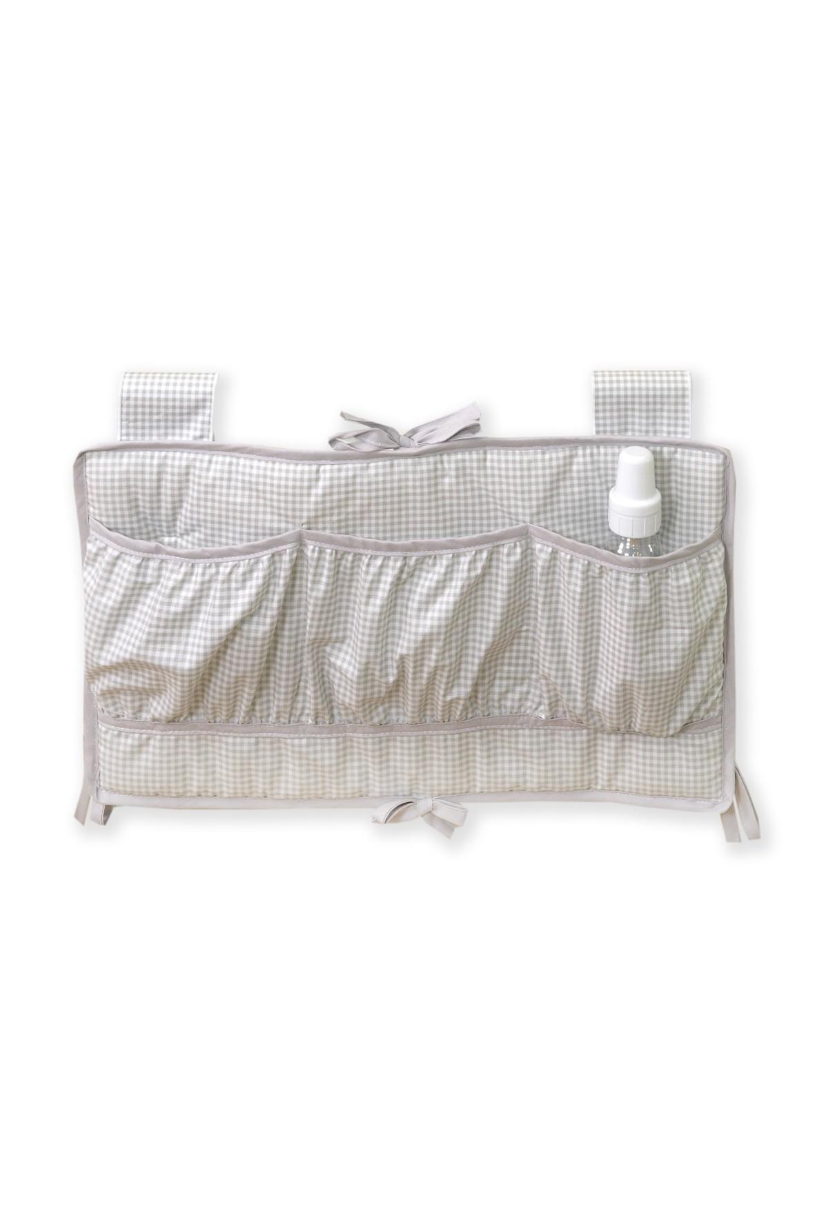 Przybornik na łóżeczko Amy- beżowy w kratkę