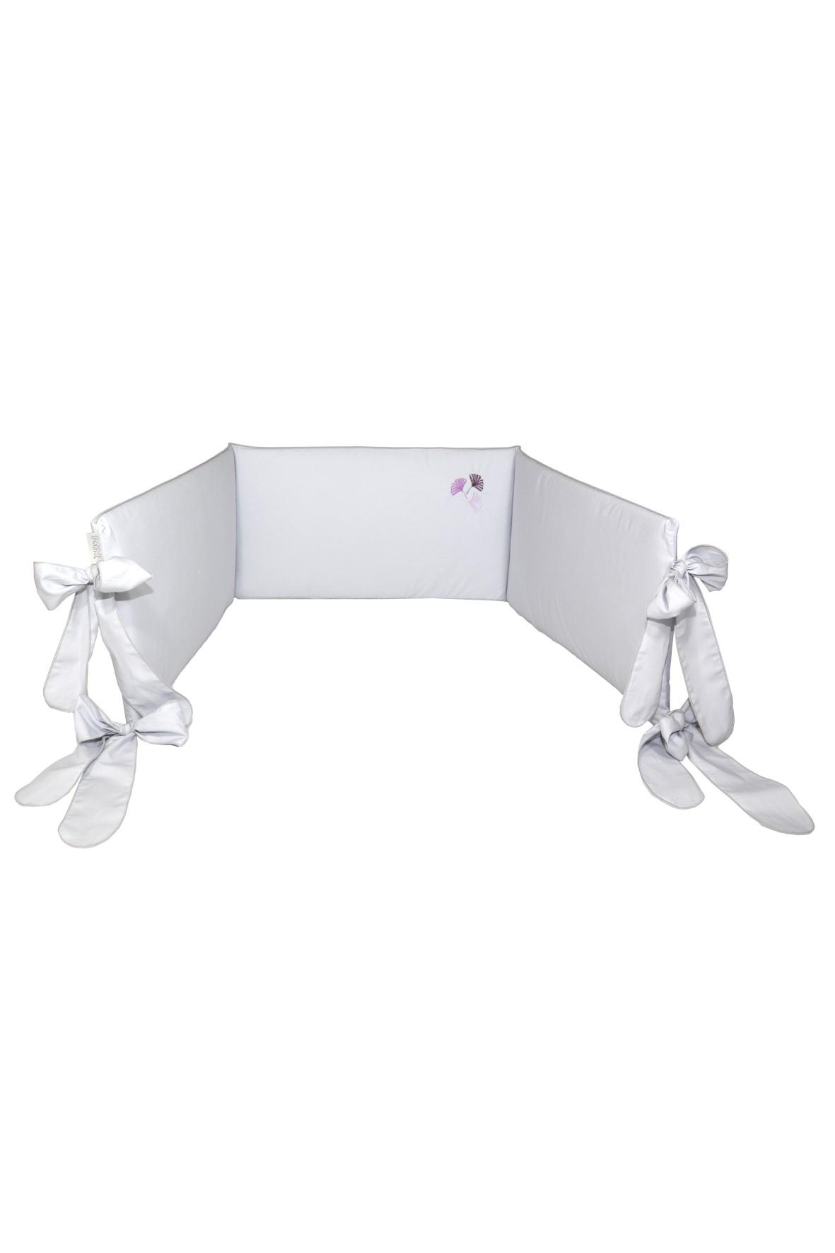 Ochraniacz do łóżeczka 180x32cm - szary