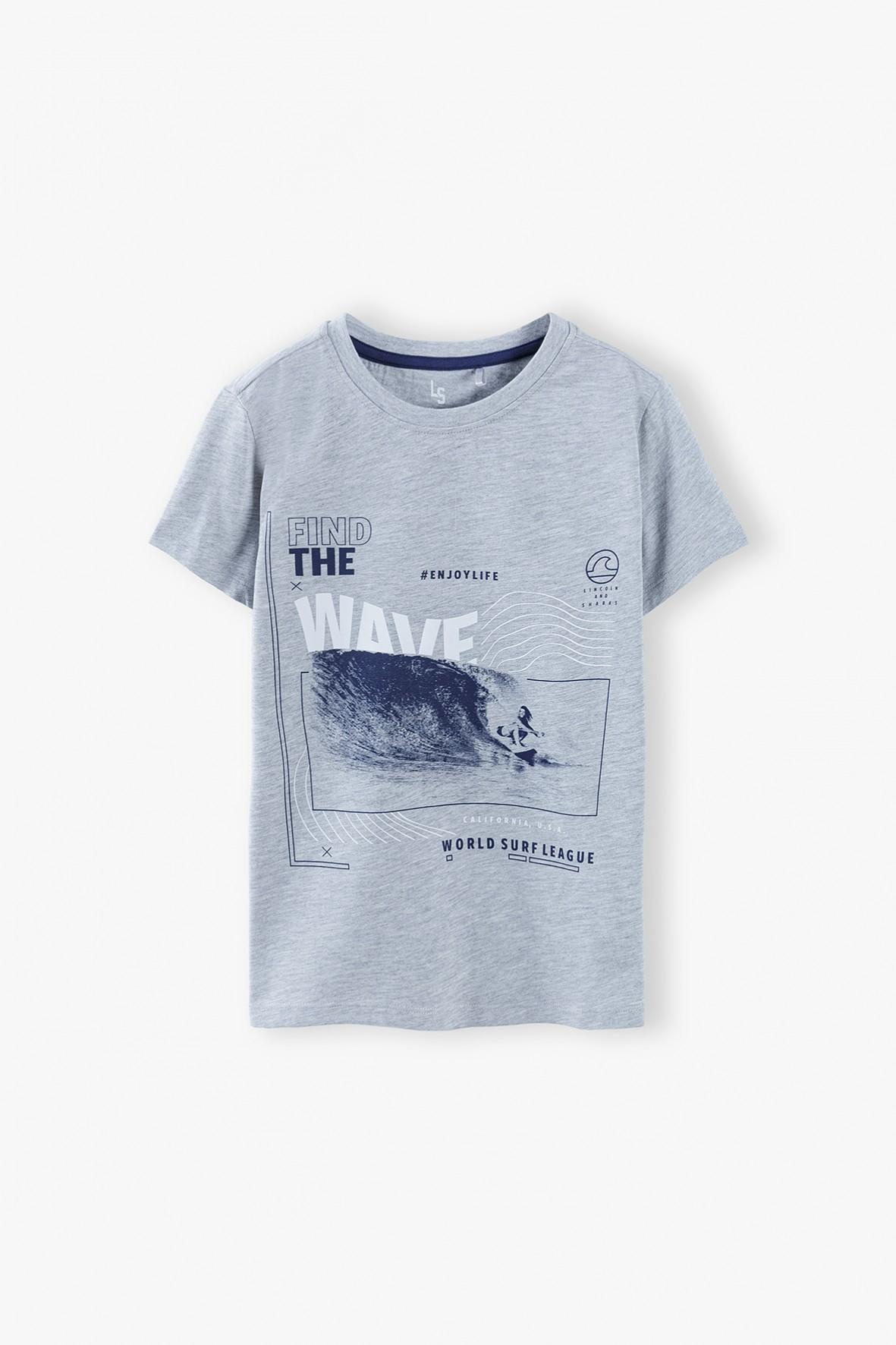 T-shirt chłopięcy szary z nadrukiem Wave