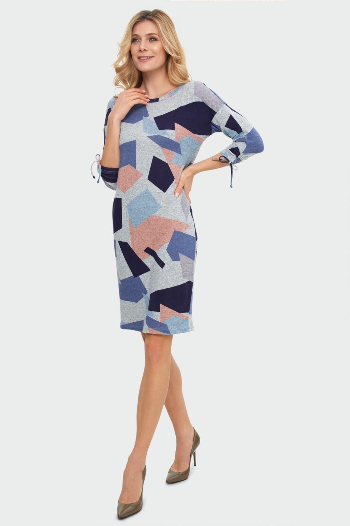Sukienka z geometrycznym nadrukiem ozdobne wiązanie przy rękawach szara