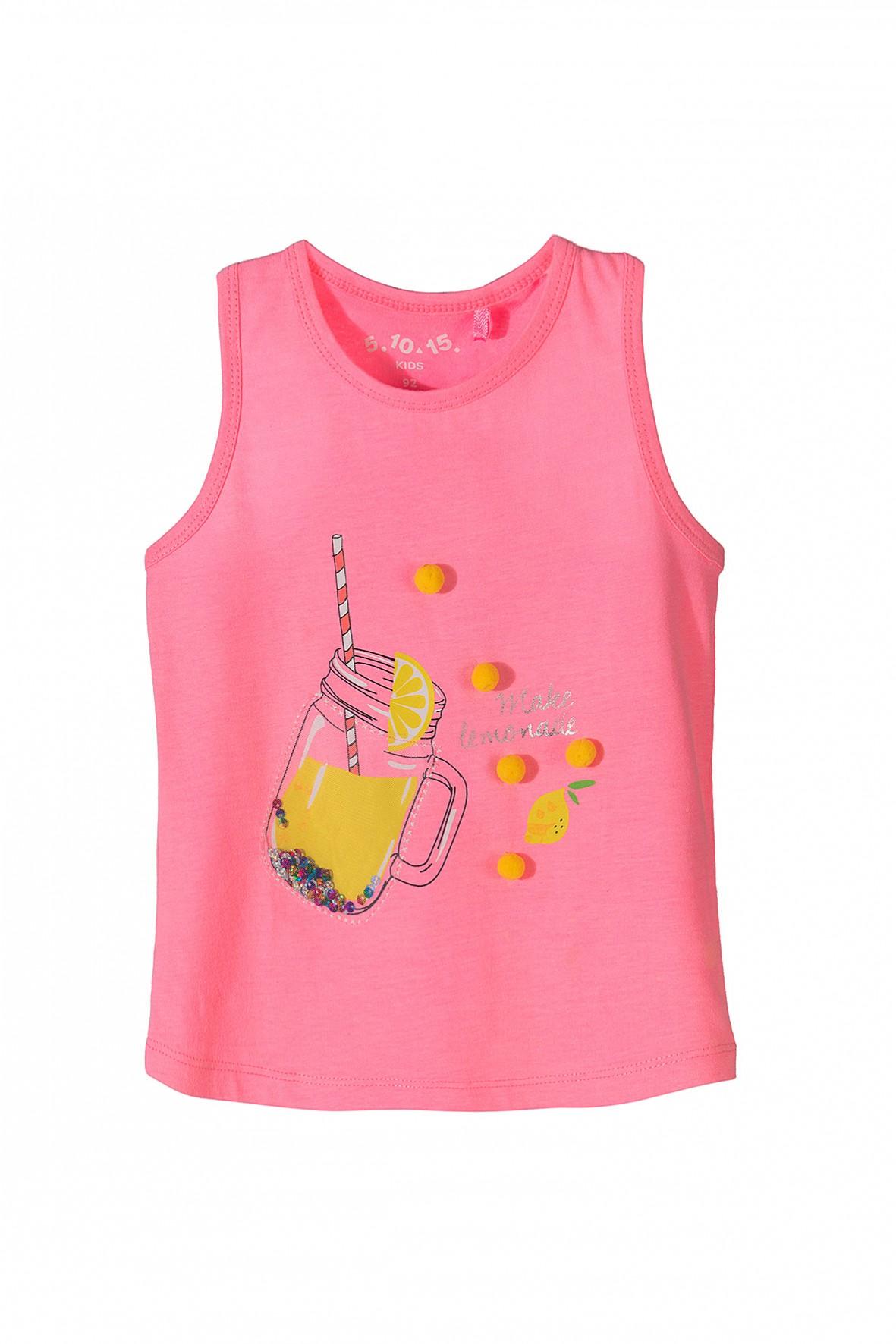 Różowa koszulka dla dziewczynki z aplikacja