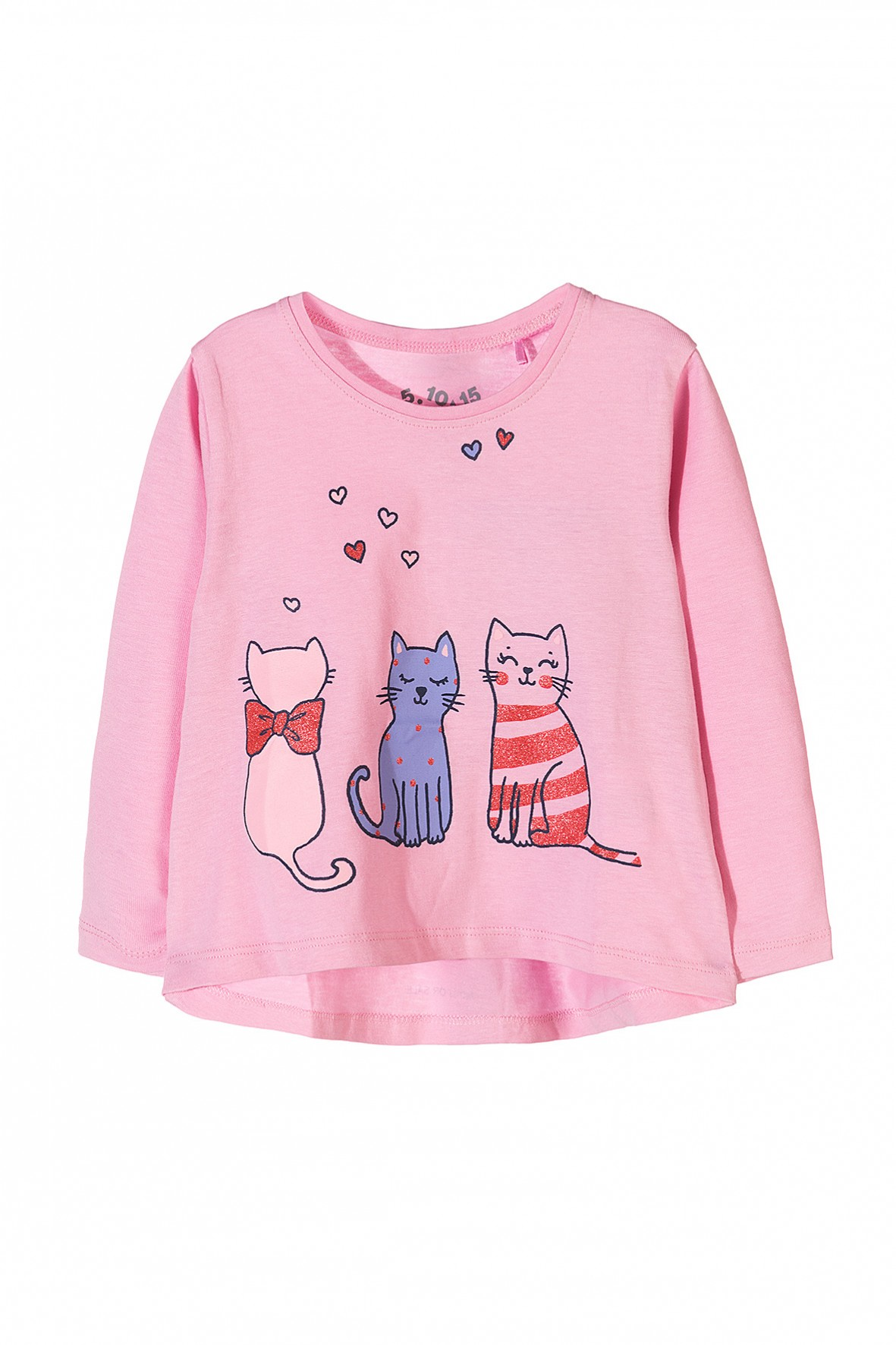 Bluzka dziewczęca różowa w koty