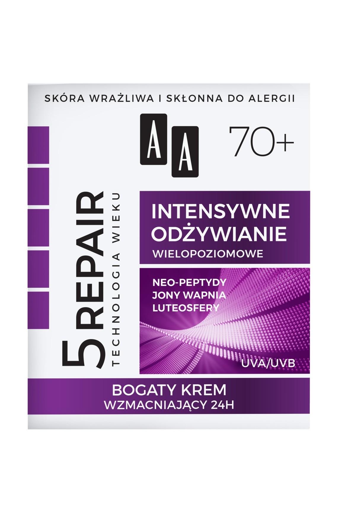 AA Technologia Wieku 5Repair 70+ Intensywne odżywianie bogaty krem wzmacniający 24h 50 ml