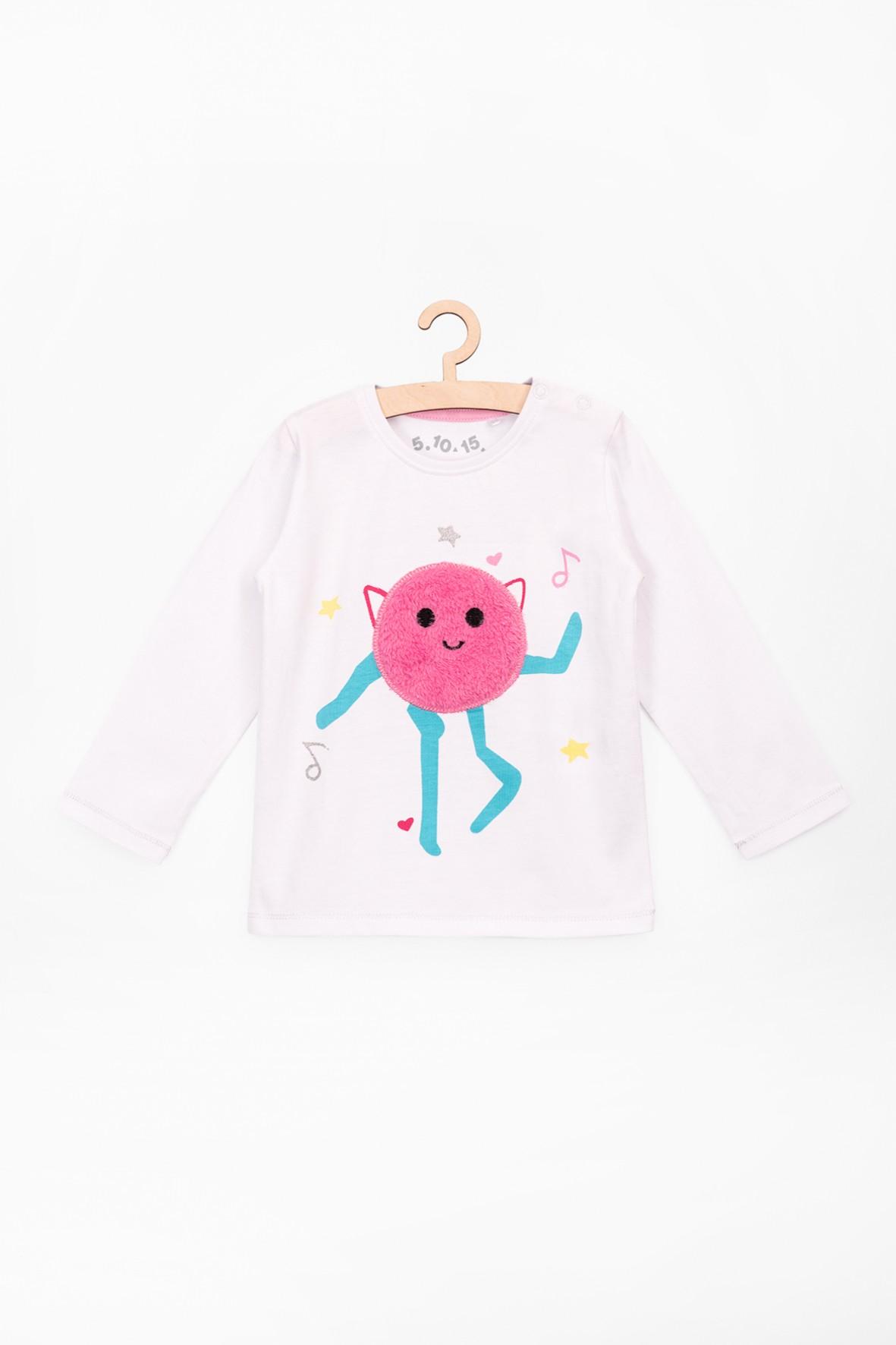 Bluzka dla niemowlaka z różowym włochatym stworkiem