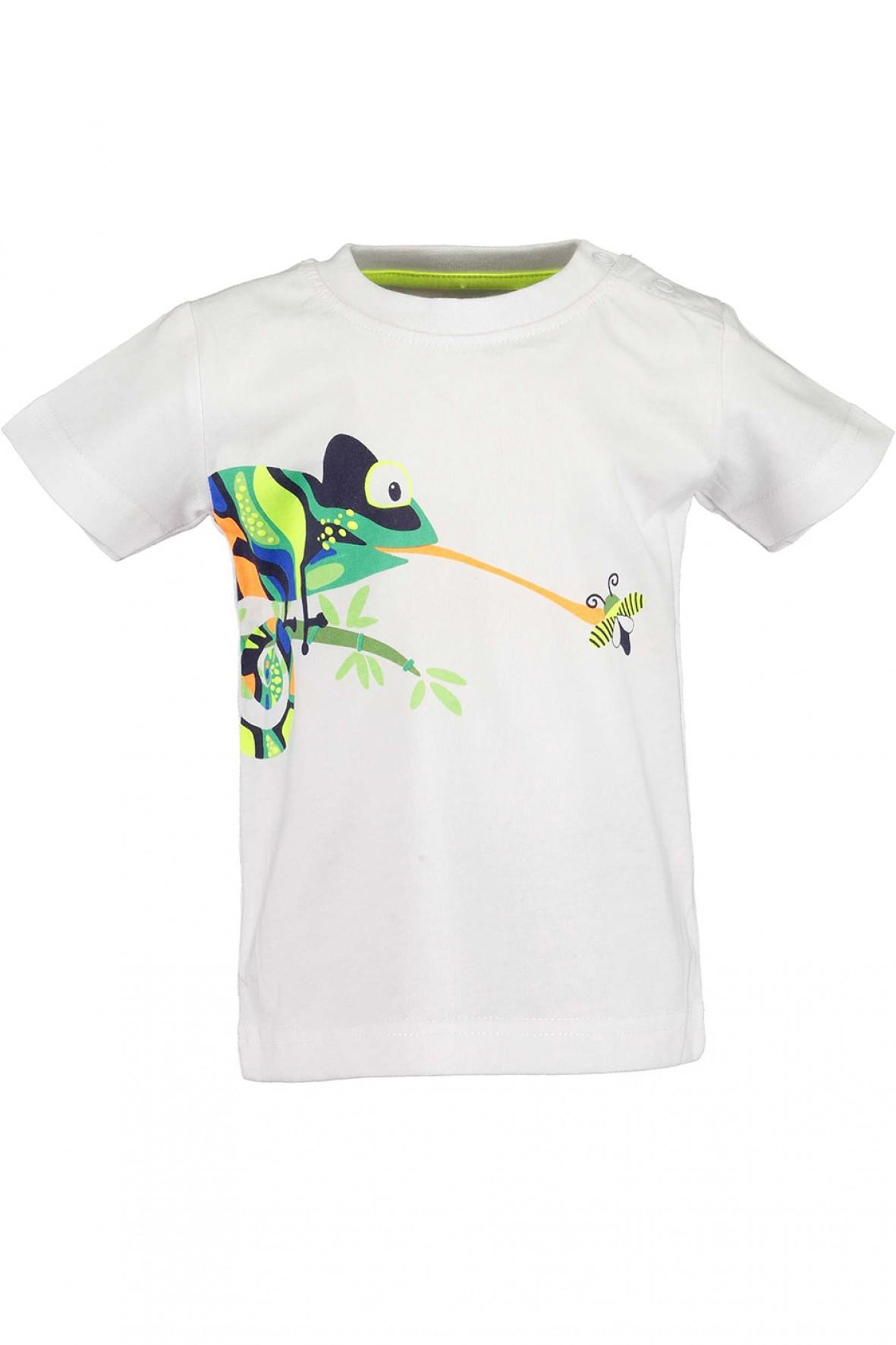 Koszulka chłopięca biała z kameleonem