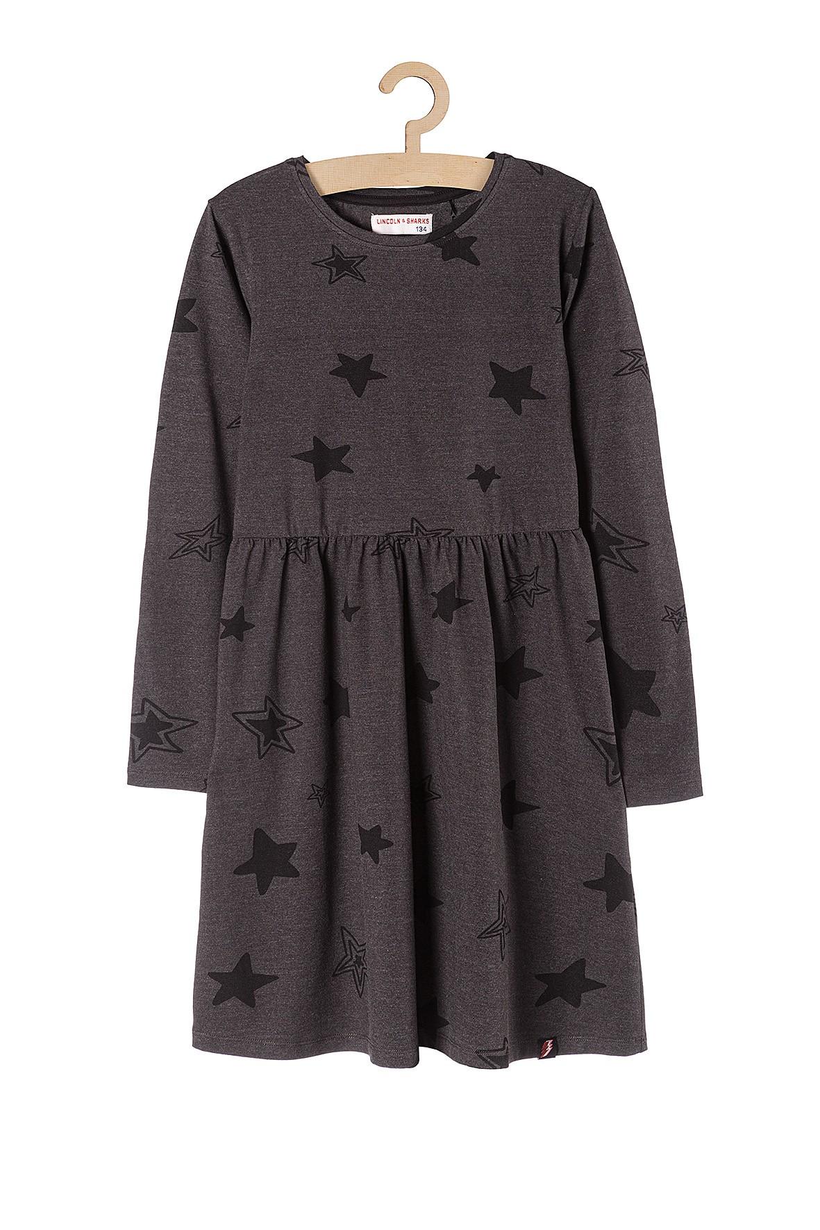 Sukienka dziewczęca szara w gwiazdki