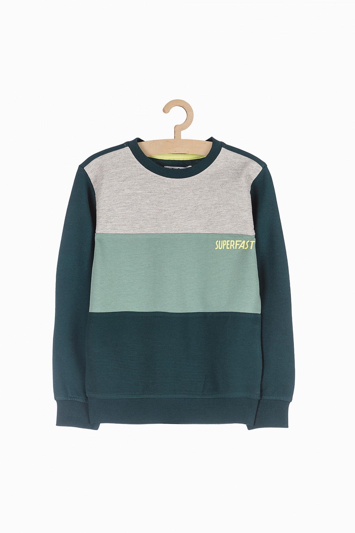 Dzianinowa bluza chłopięca- szaro zielona