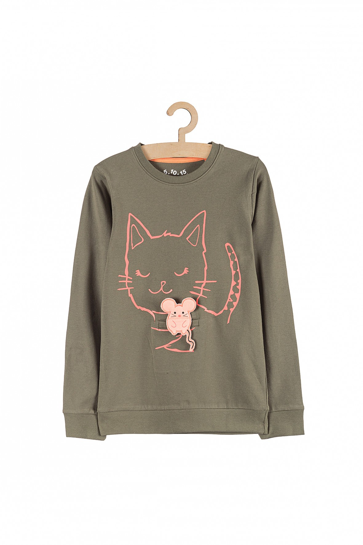 Bluza dziewczęca khaki- kot i myszka